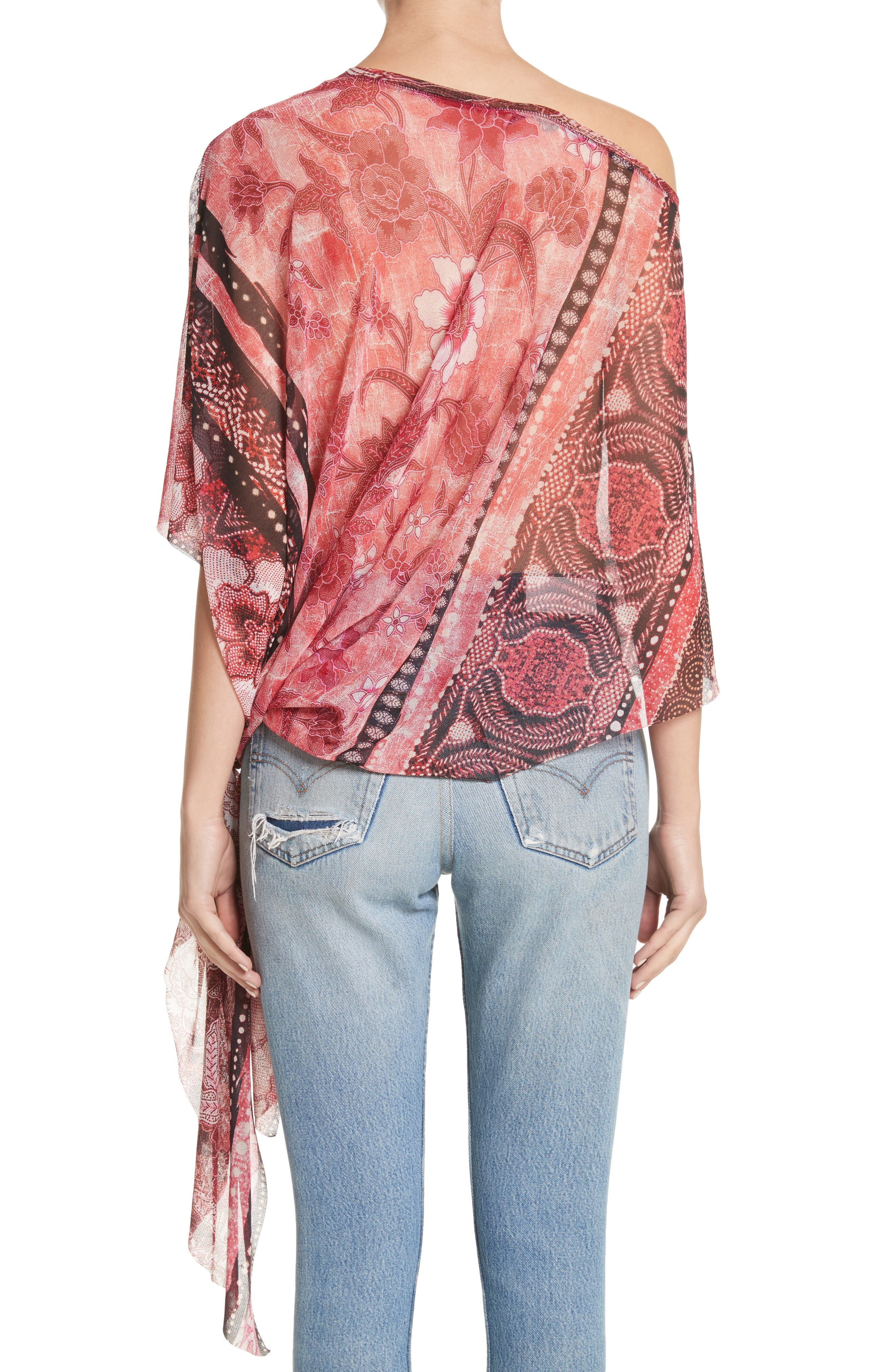 Alternate Image 2  - Fuzzi Print Tulle Handkerchief Hem Shawl Top