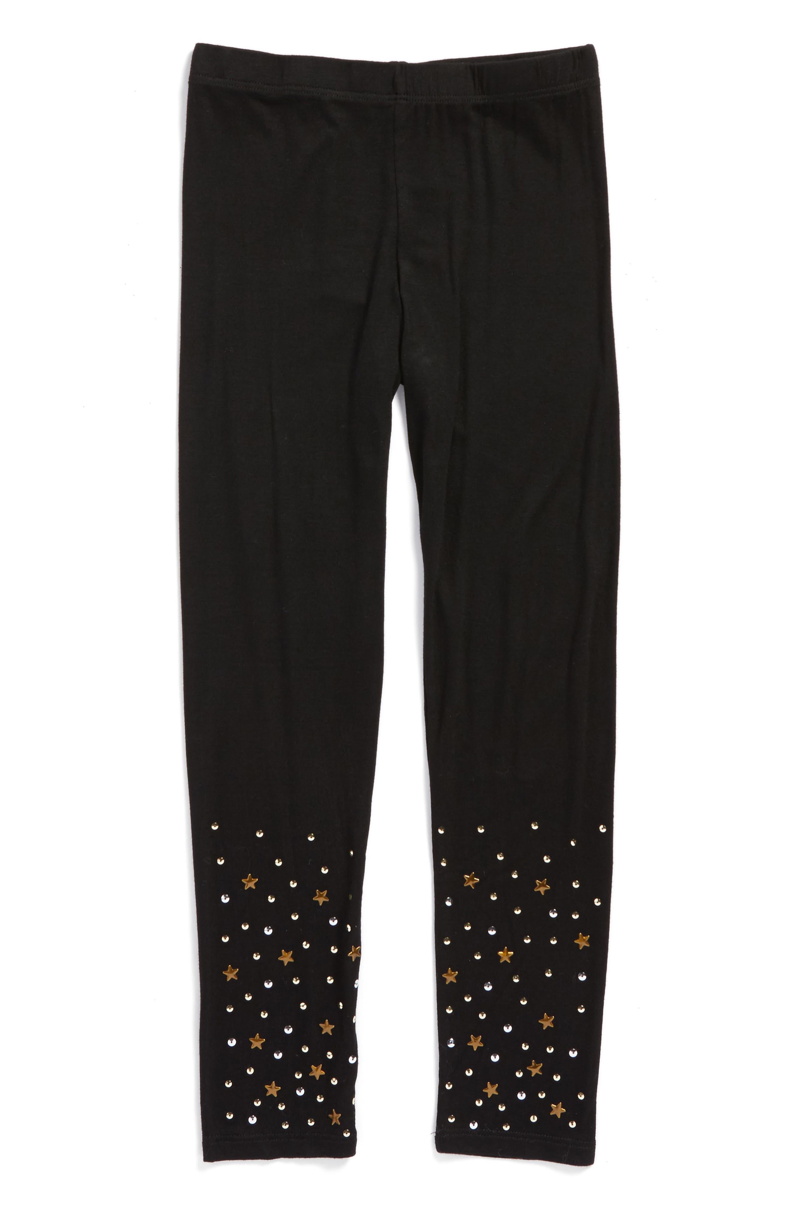 Star & Sequin Leggings,                             Main thumbnail 1, color,                             Black