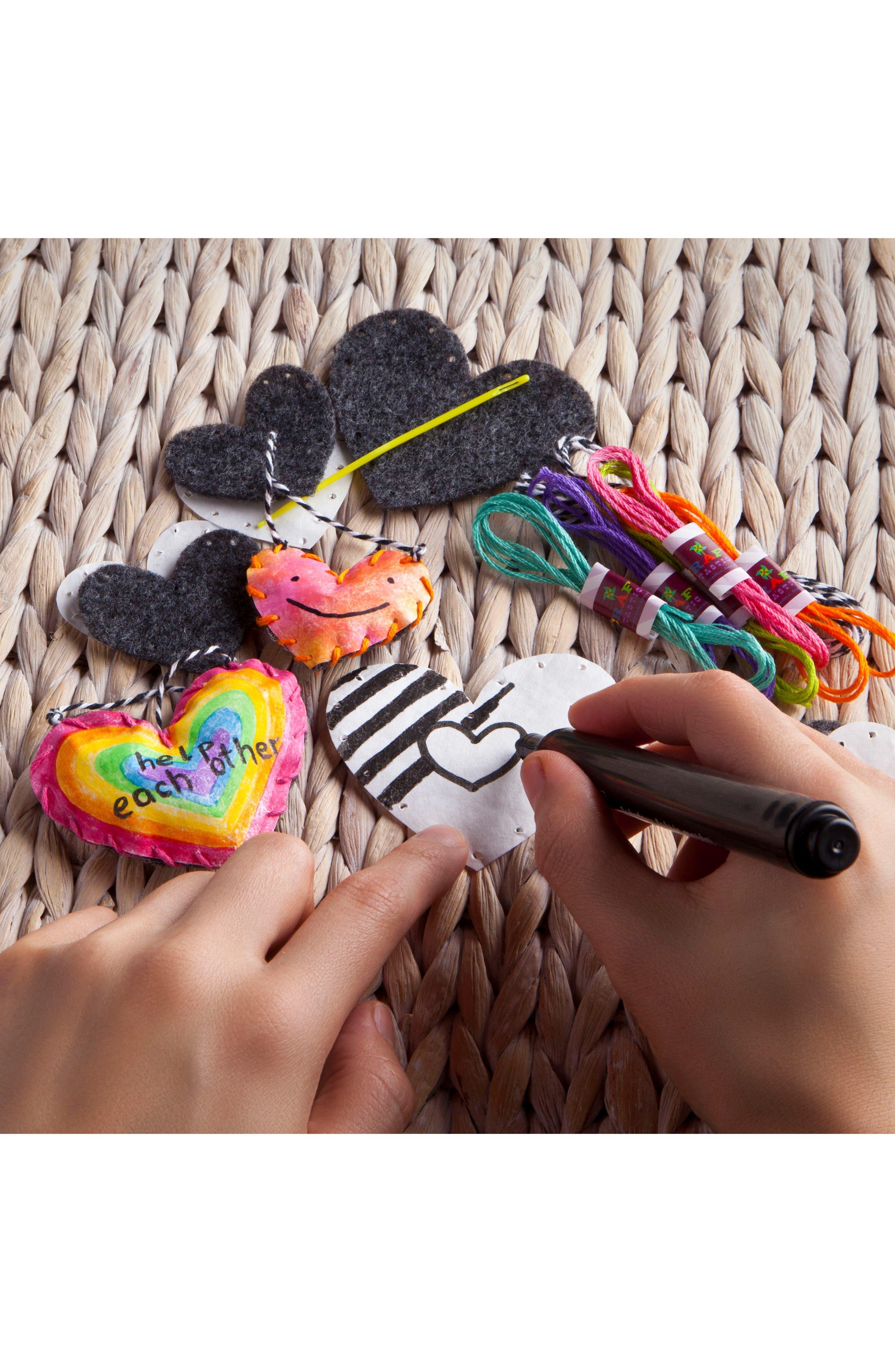 Make & Give Giving Hearts Craft Kit,                             Alternate thumbnail 3, color,                             White