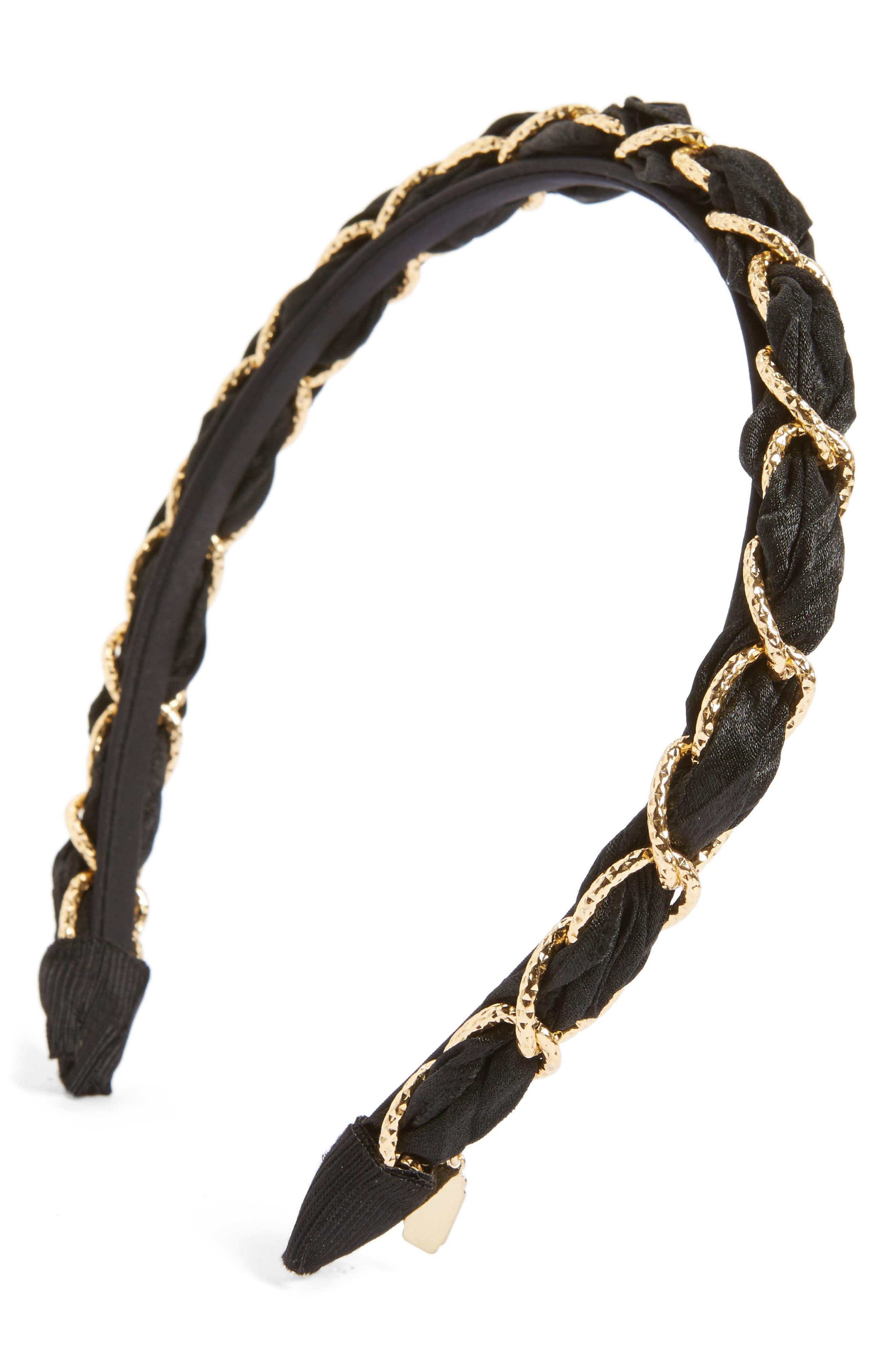 Woven Link Headband,                         Main,                         color, Black/Gold