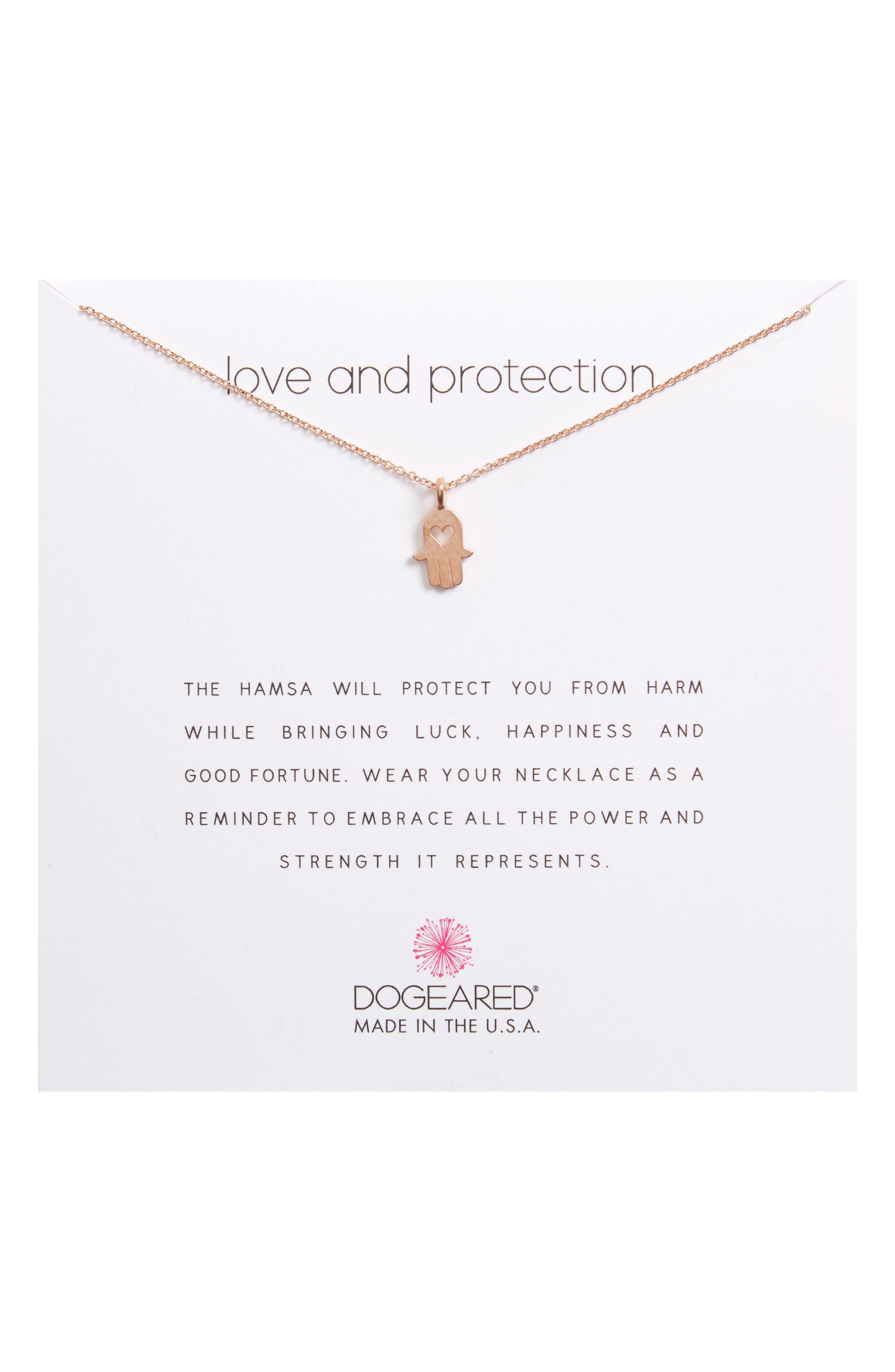 Dogeared Love & Protection Heart Hamsa Pendant Necklace