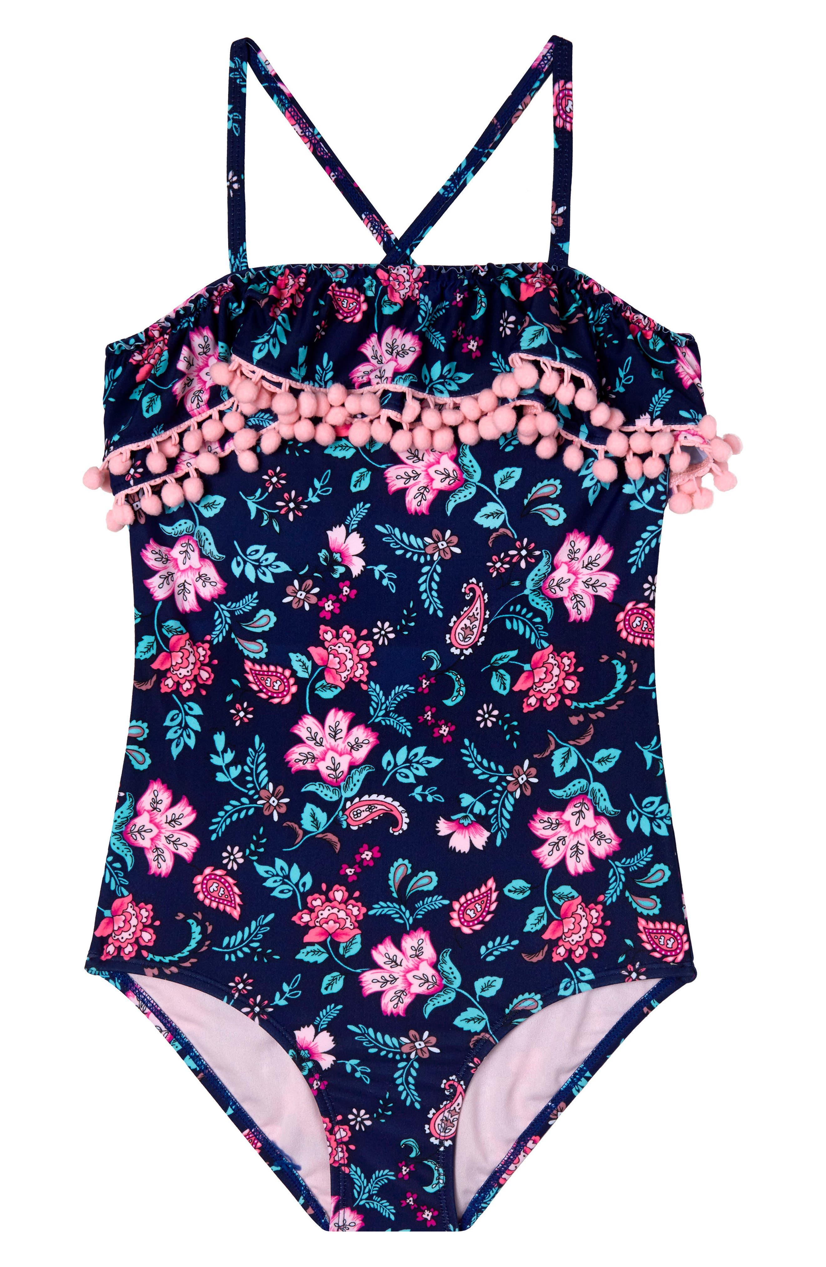 Gossip Girl Floral Field One-Piece Swimsuit (Big Girls)