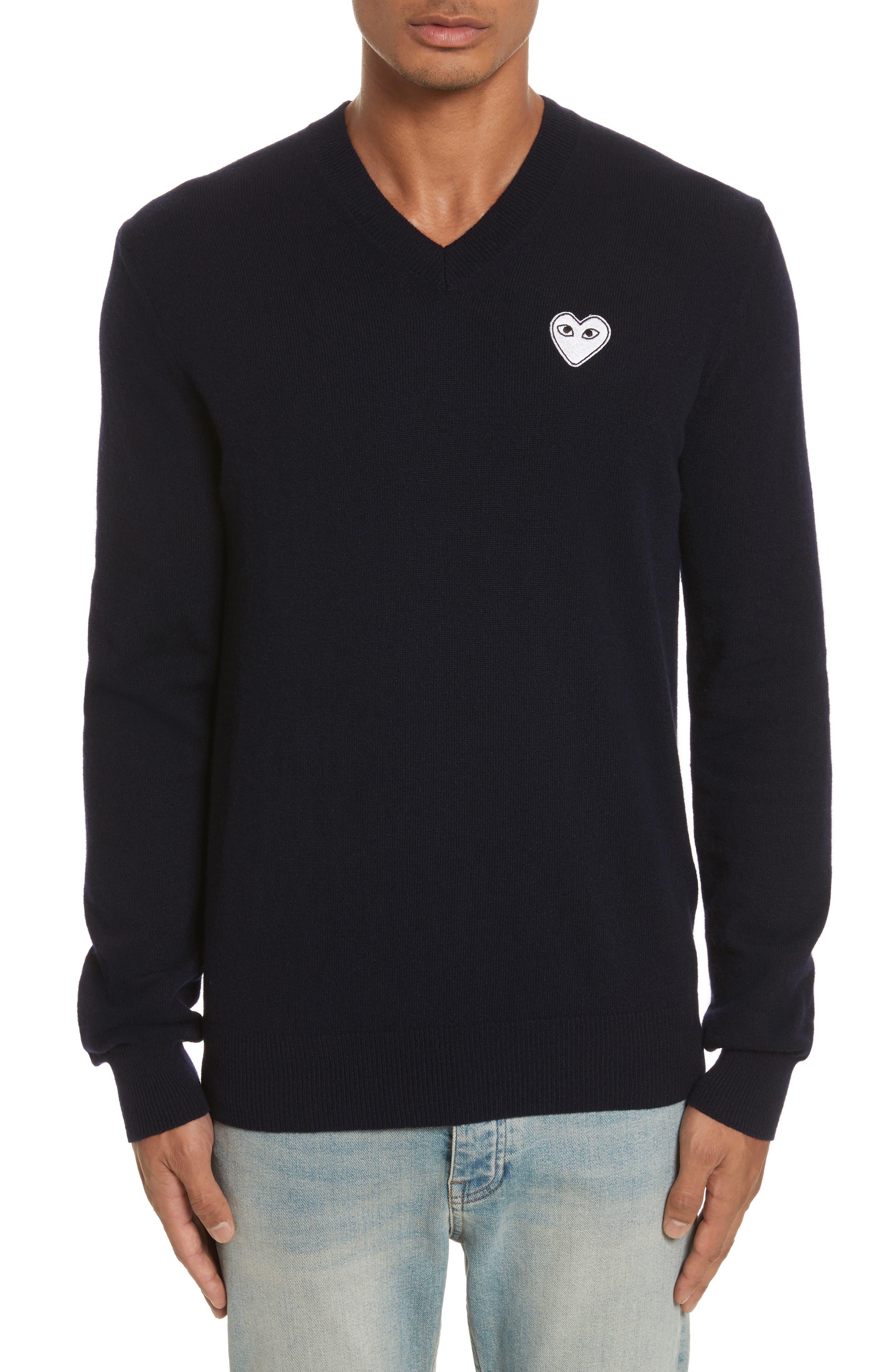 Comme des Garçons PLAY White Heart Wool V-Neck Sweater