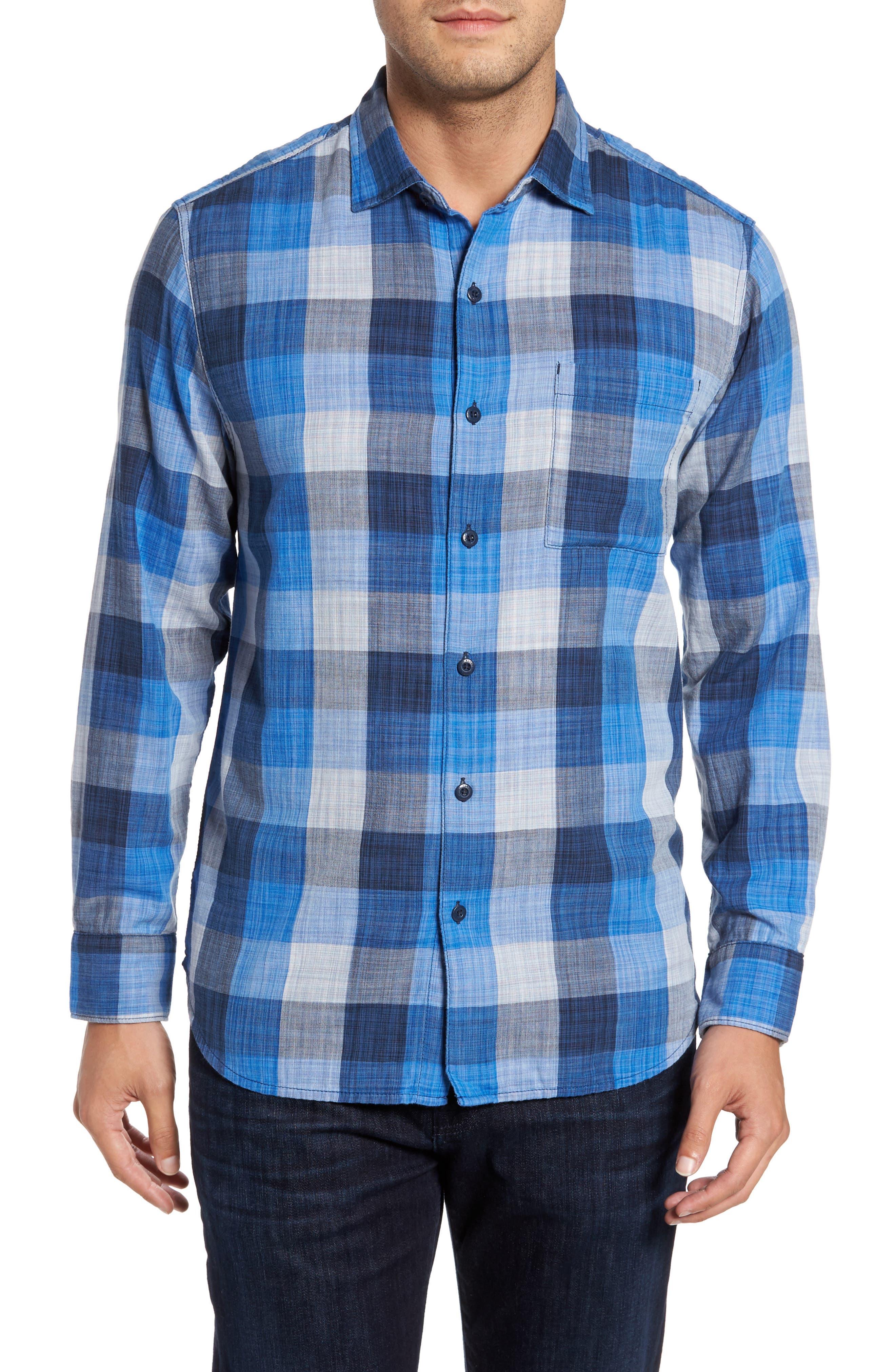 Dual Lux Check Sport Shirt,                         Main,                         color, Bering Blue