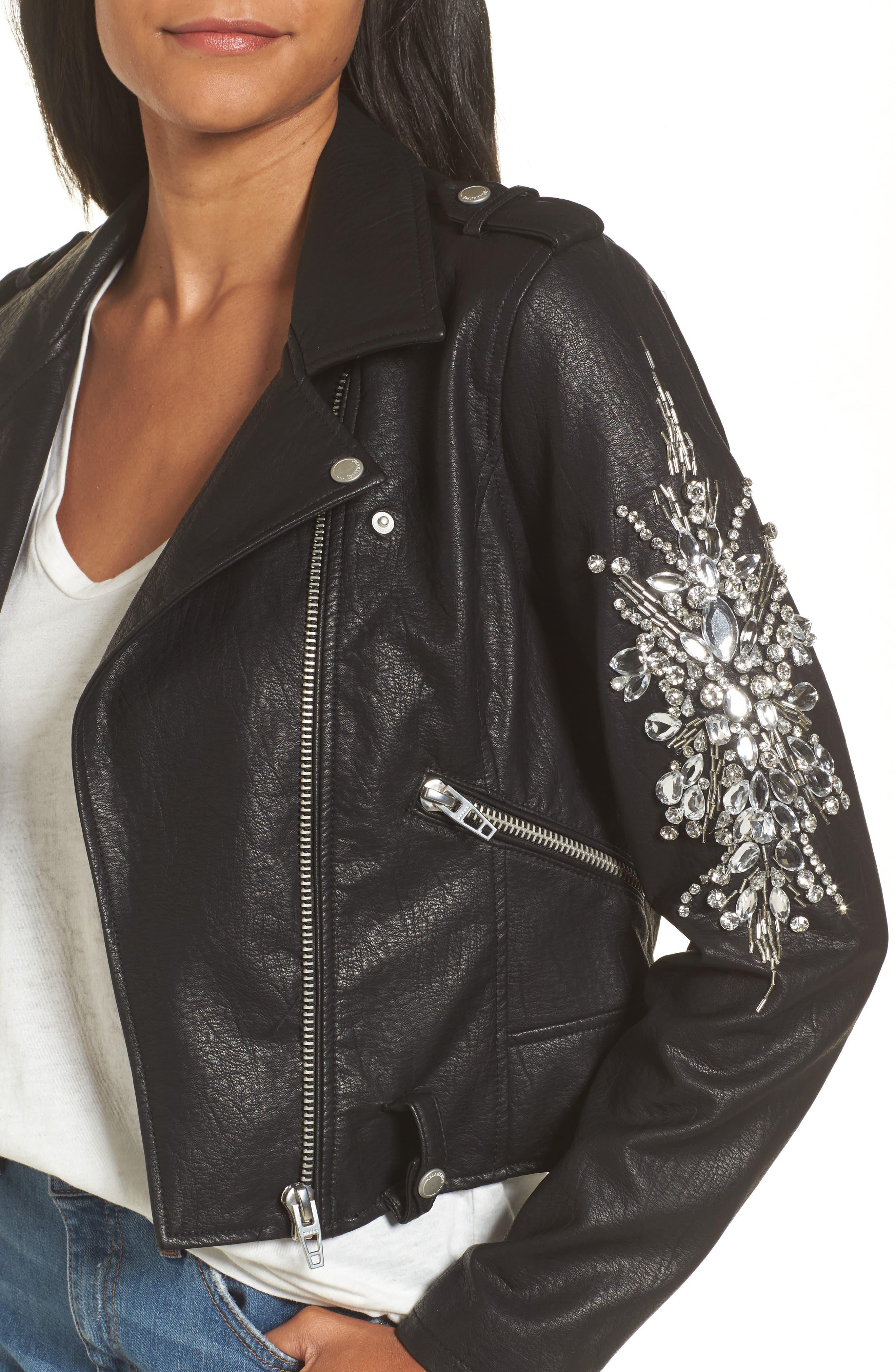 Embellished Faux Leather Moto Jacket,                             Alternate thumbnail 4, color,                             Crown Jewels
