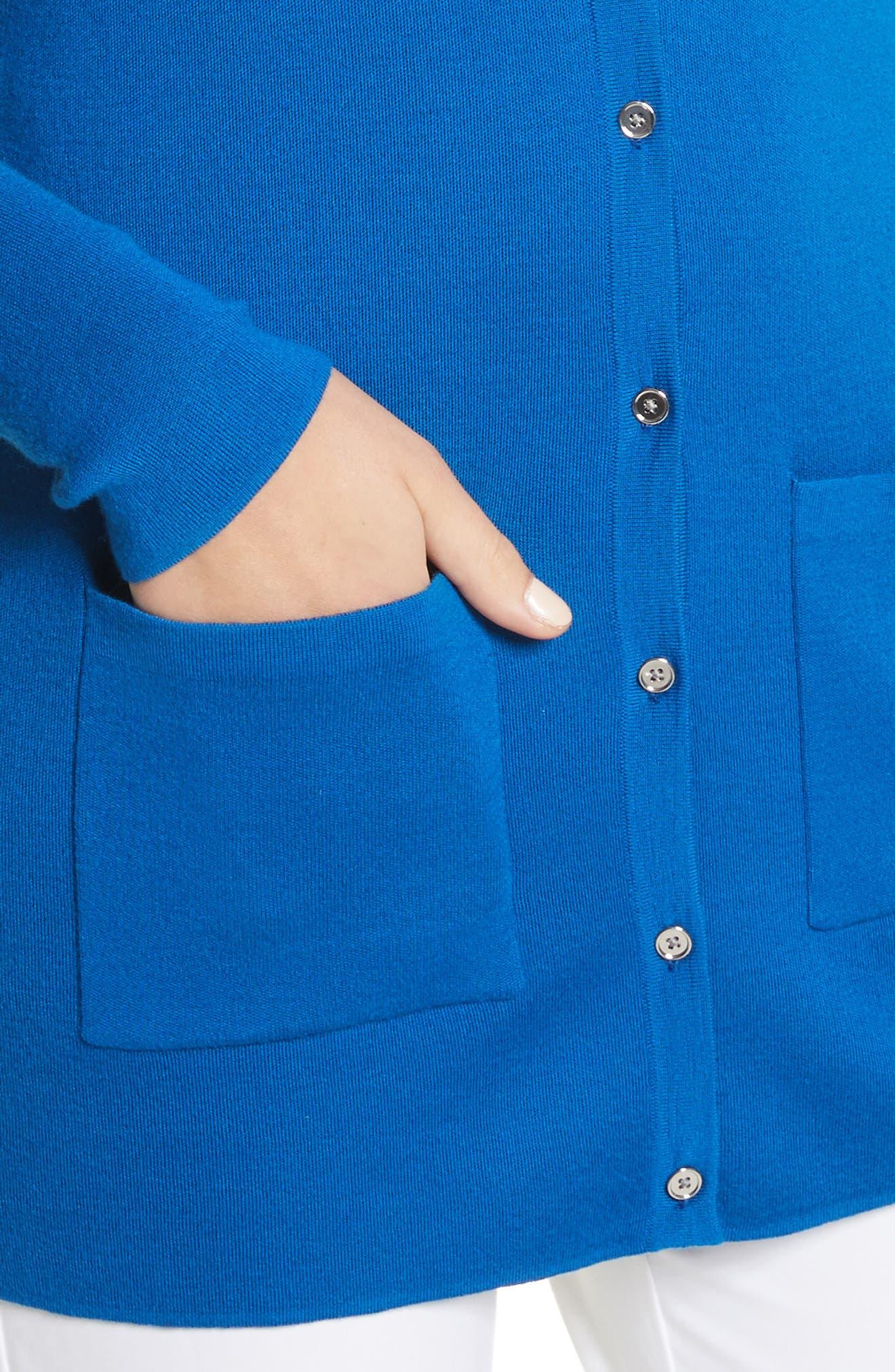Long Cashmere Cardigan,                             Alternate thumbnail 4, color,                             Mediterranean