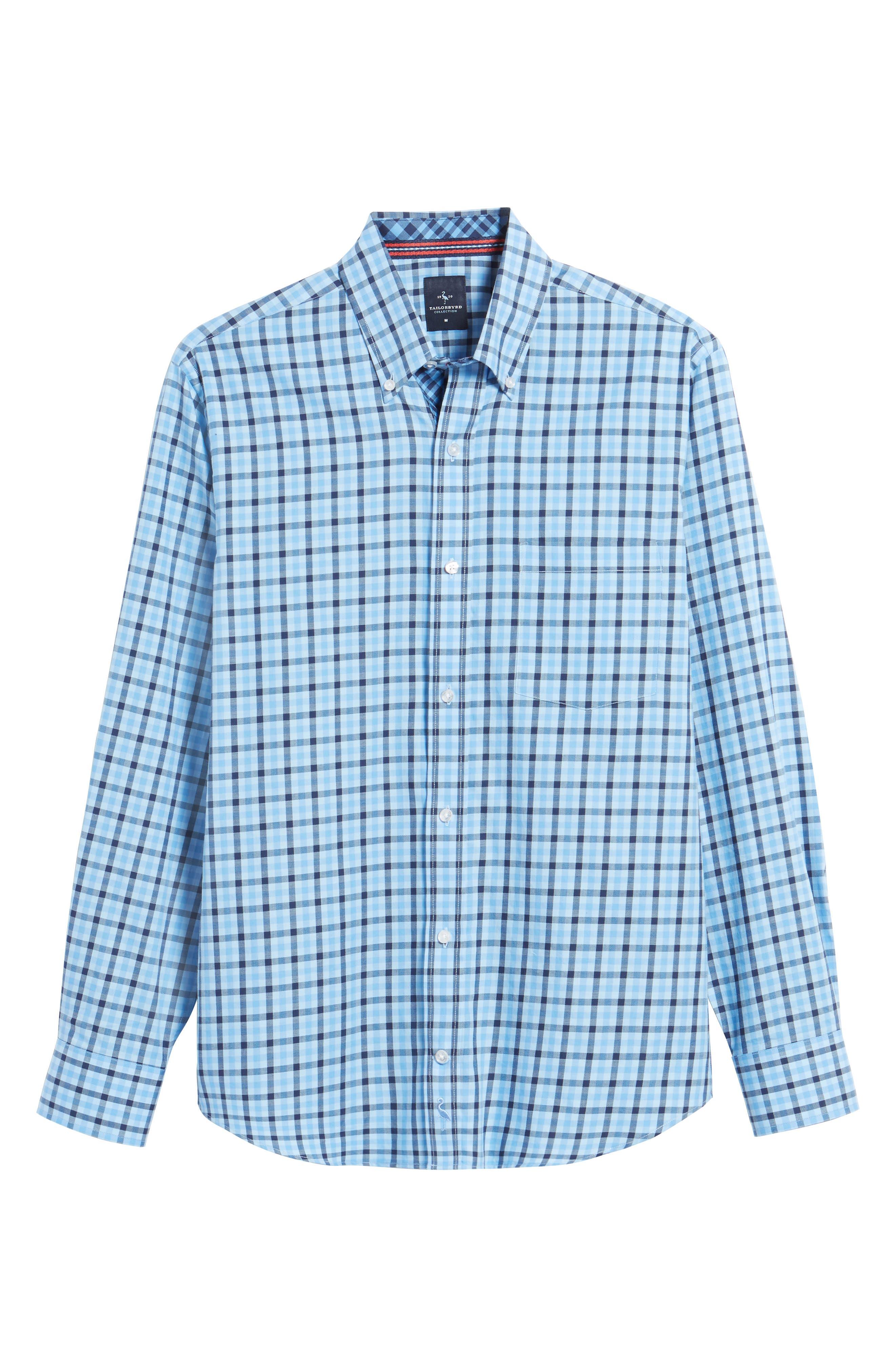 Bridge City Gingham Twill Sport Shirt,                             Alternate thumbnail 6, color,                             Blue