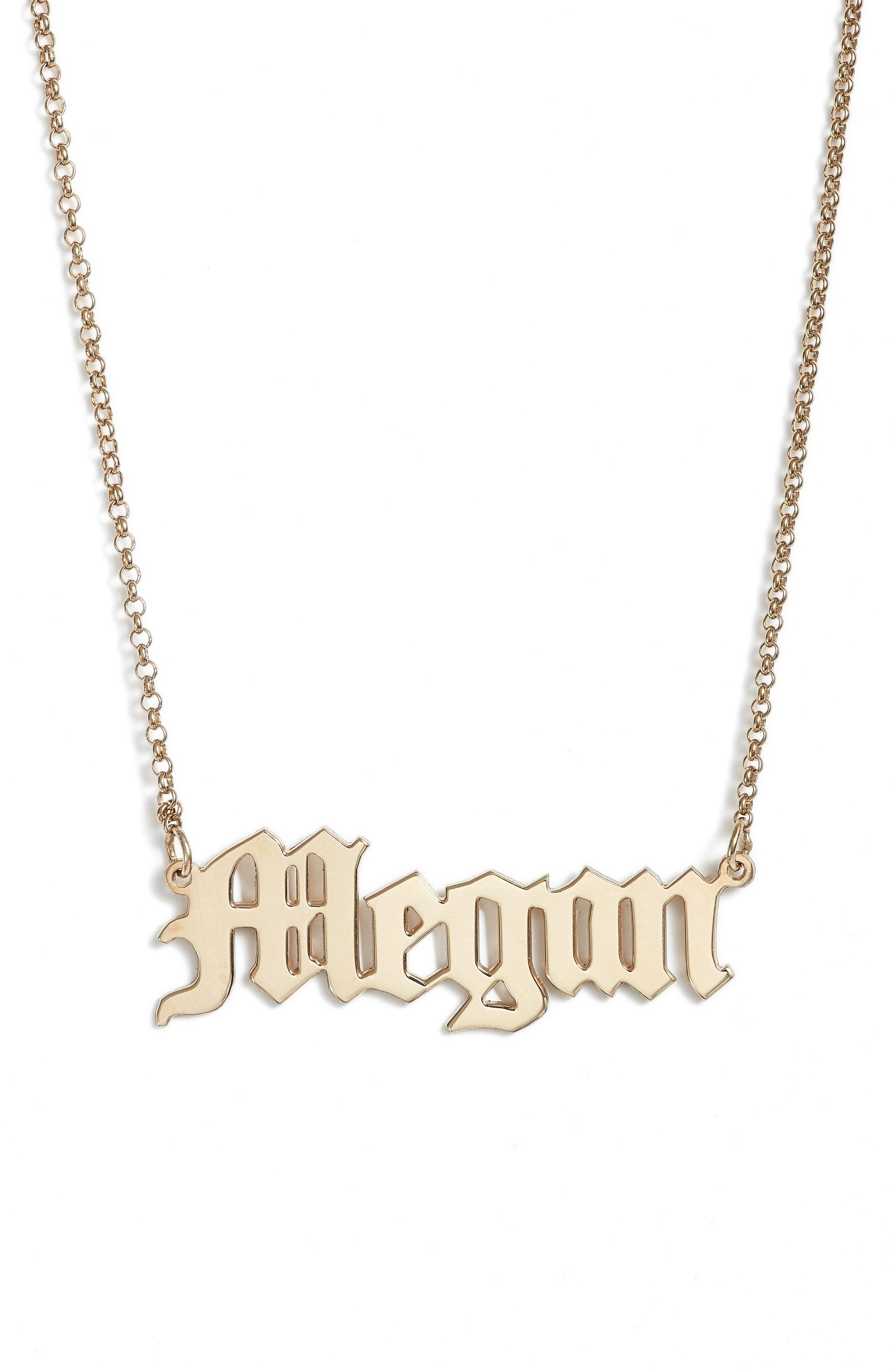 Personalized English Font Name Necklace,                             Main thumbnail 1, color,                             Gold