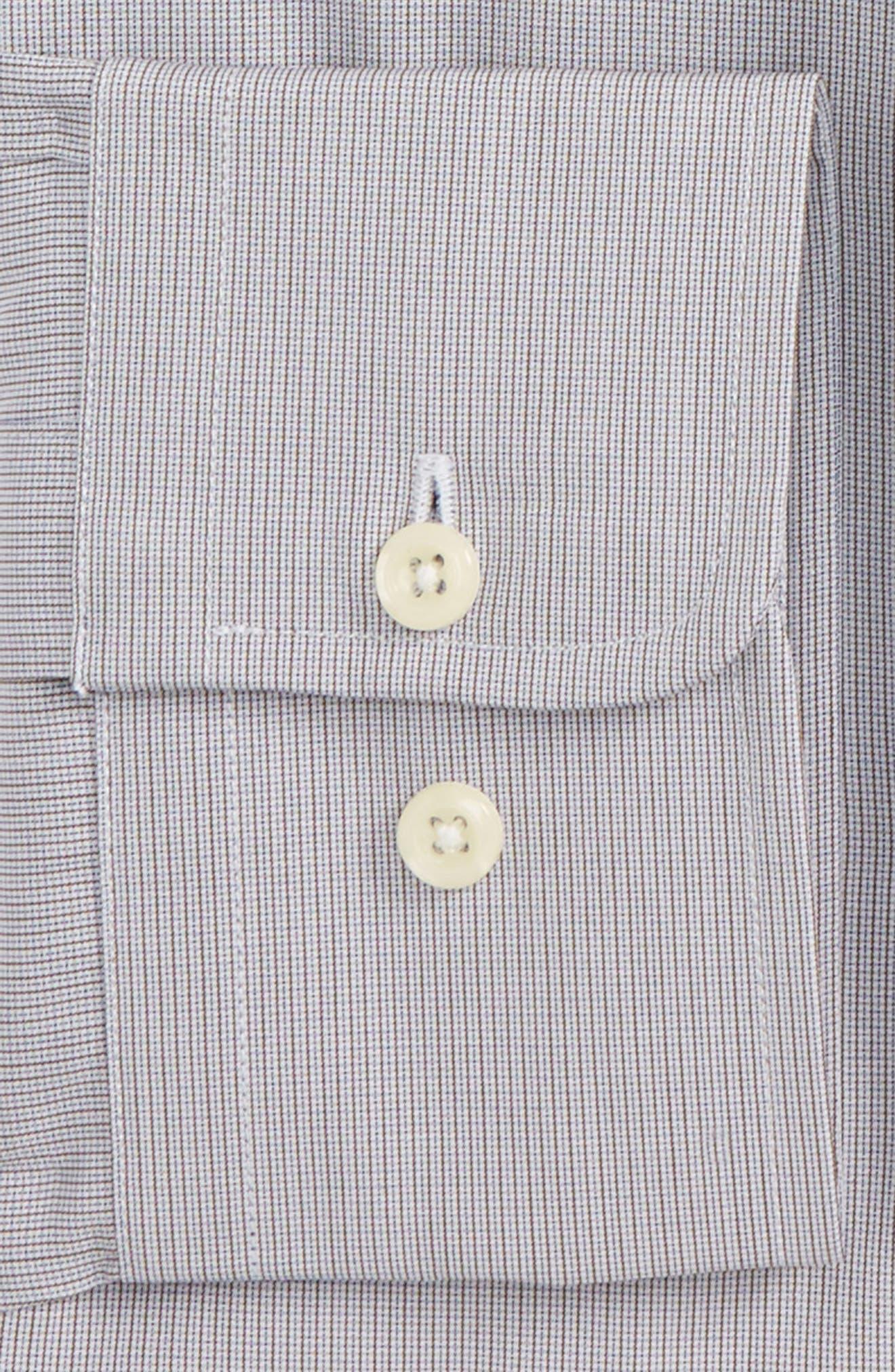 Trim Fit Stripe Dress Shirt,                             Alternate thumbnail 2, color,                             Chocolate