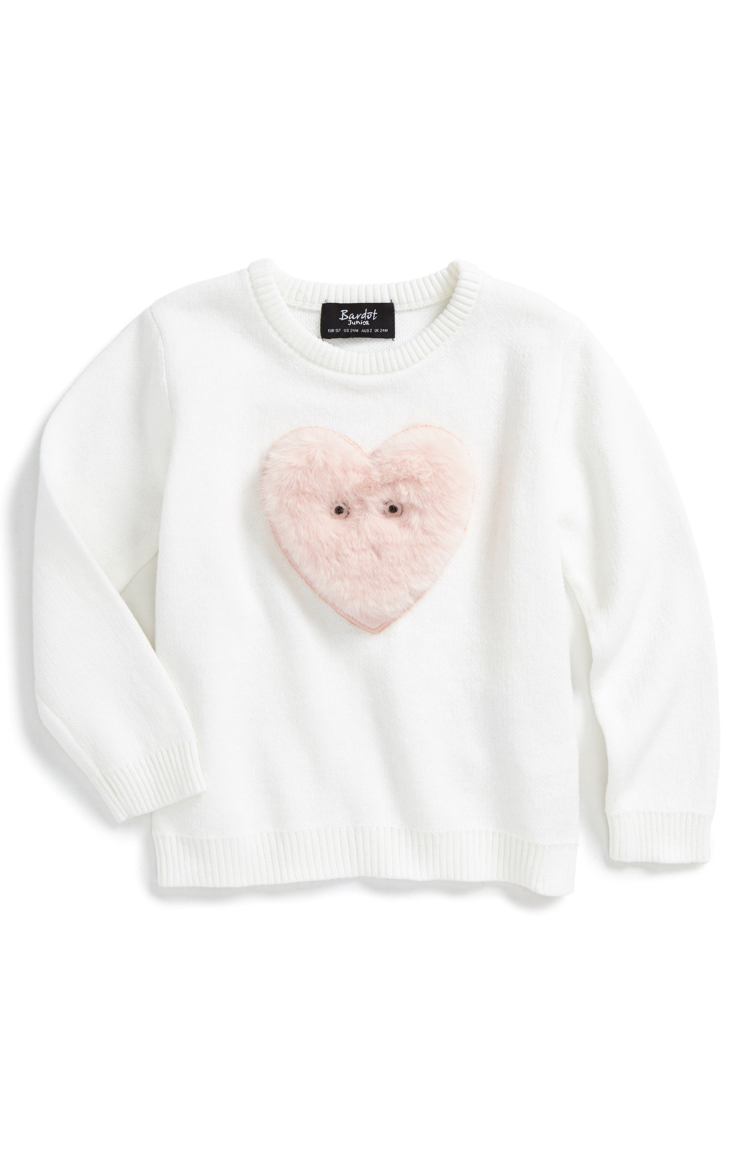 Fluffy Heart Sweater,                         Main,                         color, Ivory