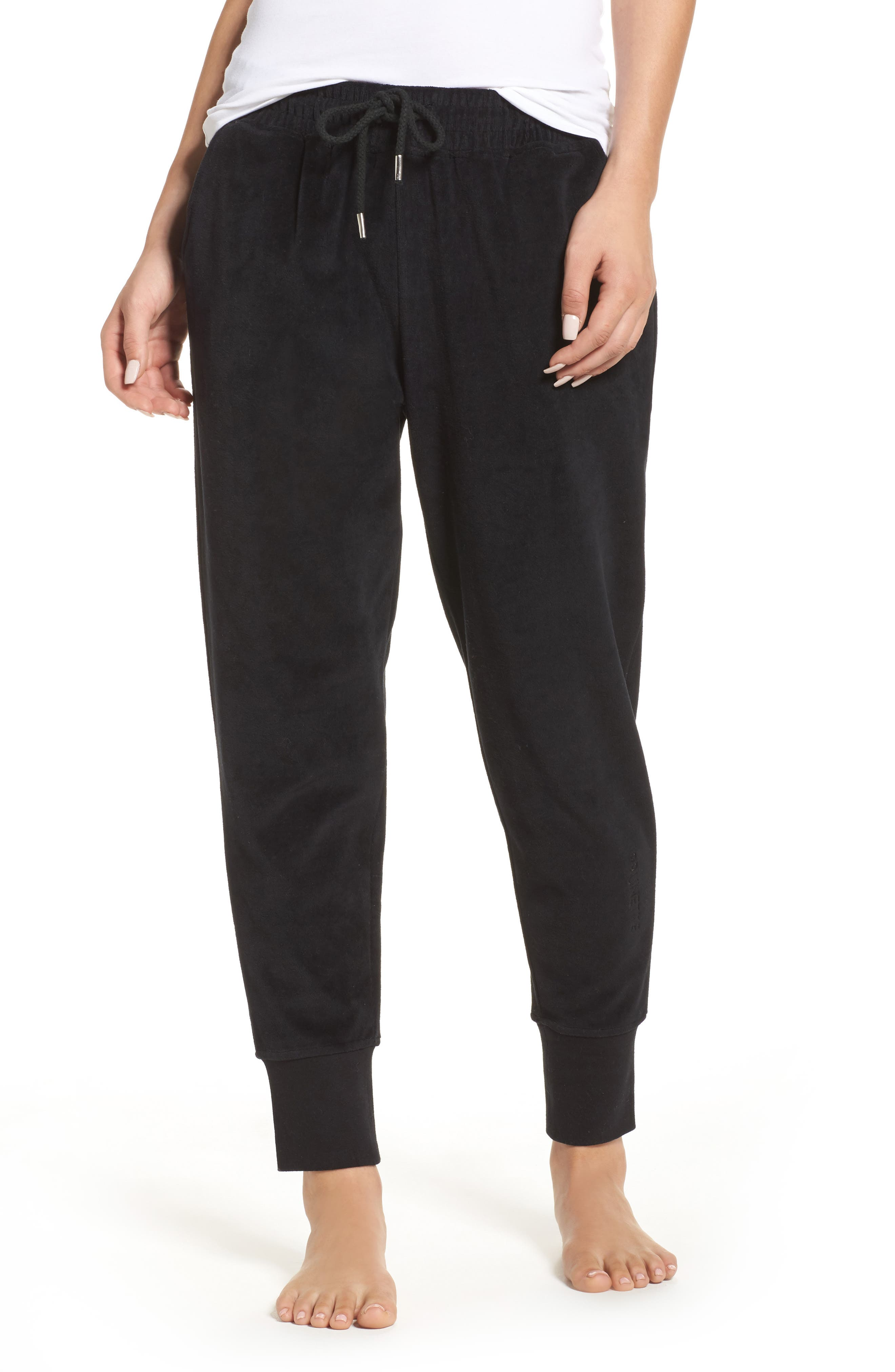 Brunette Embroidered Velour Jogger Pants,                             Main thumbnail 1, color,                             Black