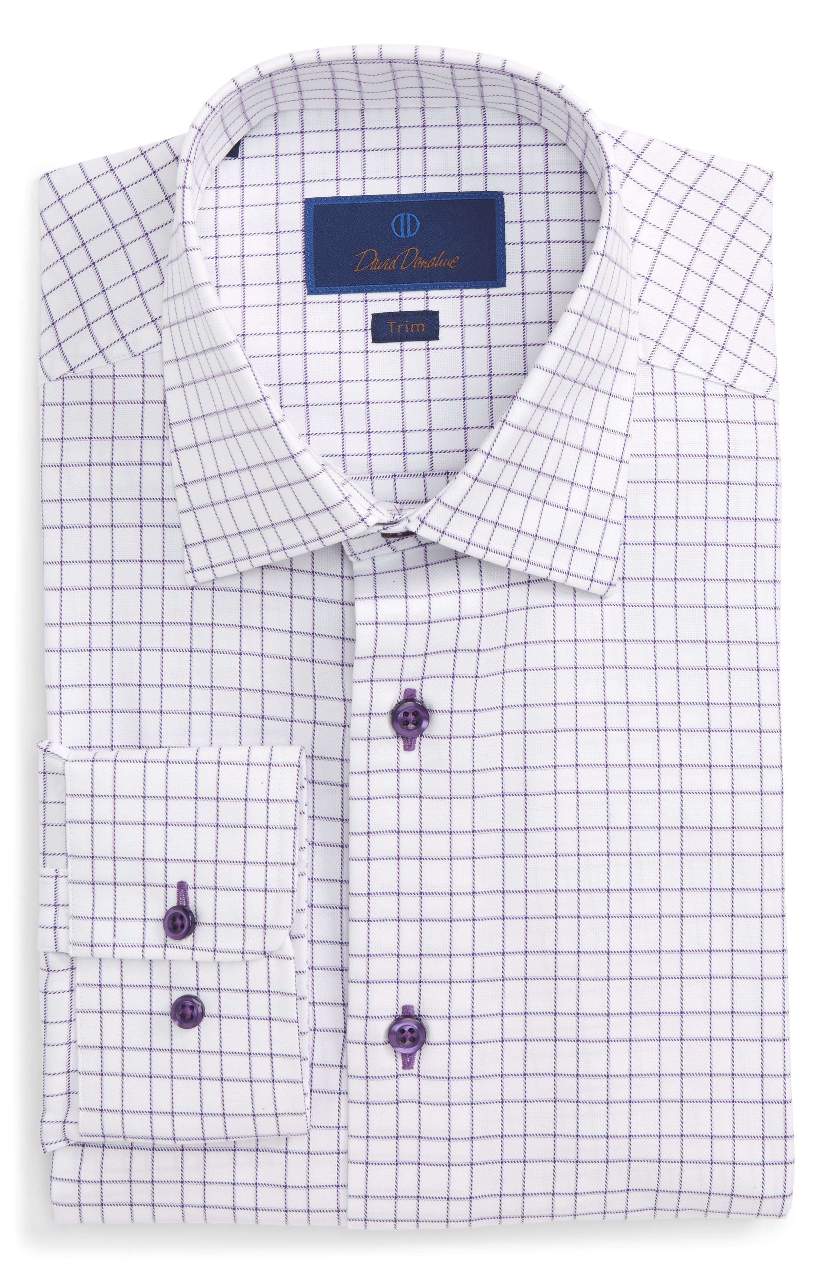 Alternate Image 1 Selected - David Donahue Trim Fit Check Dress Shirt