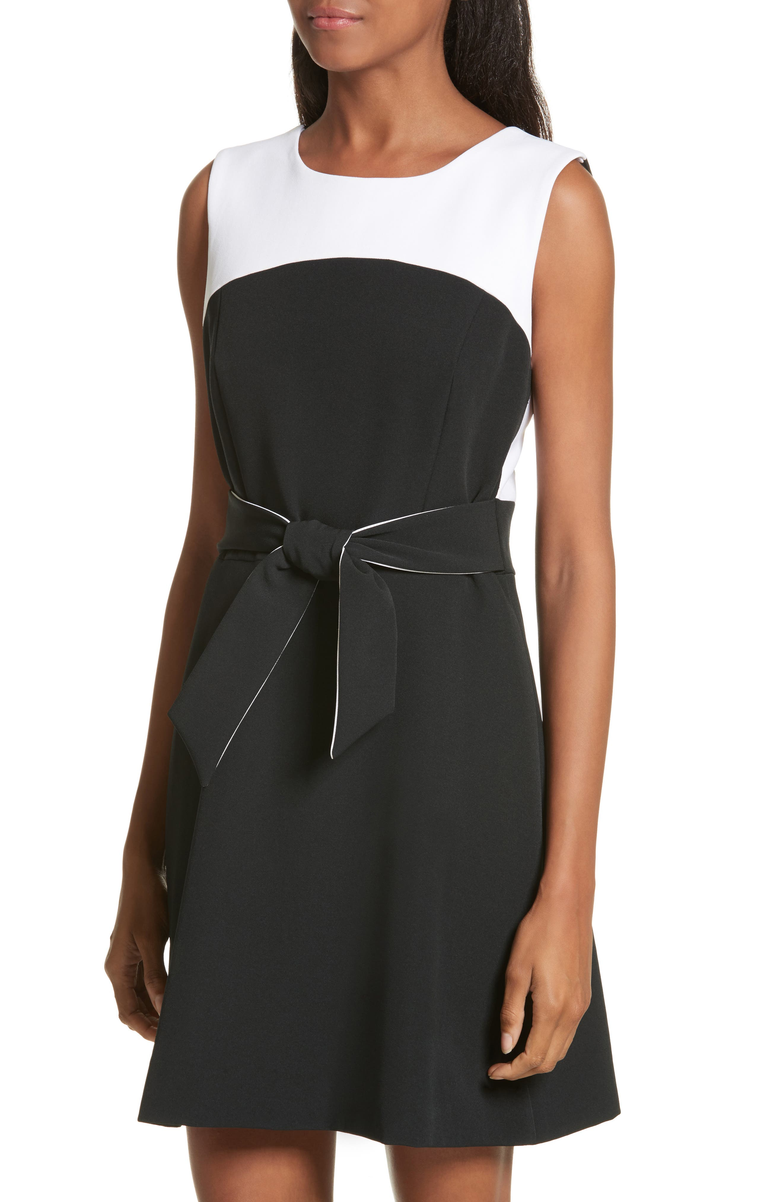 Jenny Stretch Crepe Fit & Flare Dress,                             Alternate thumbnail 4, color,                             White/ Black