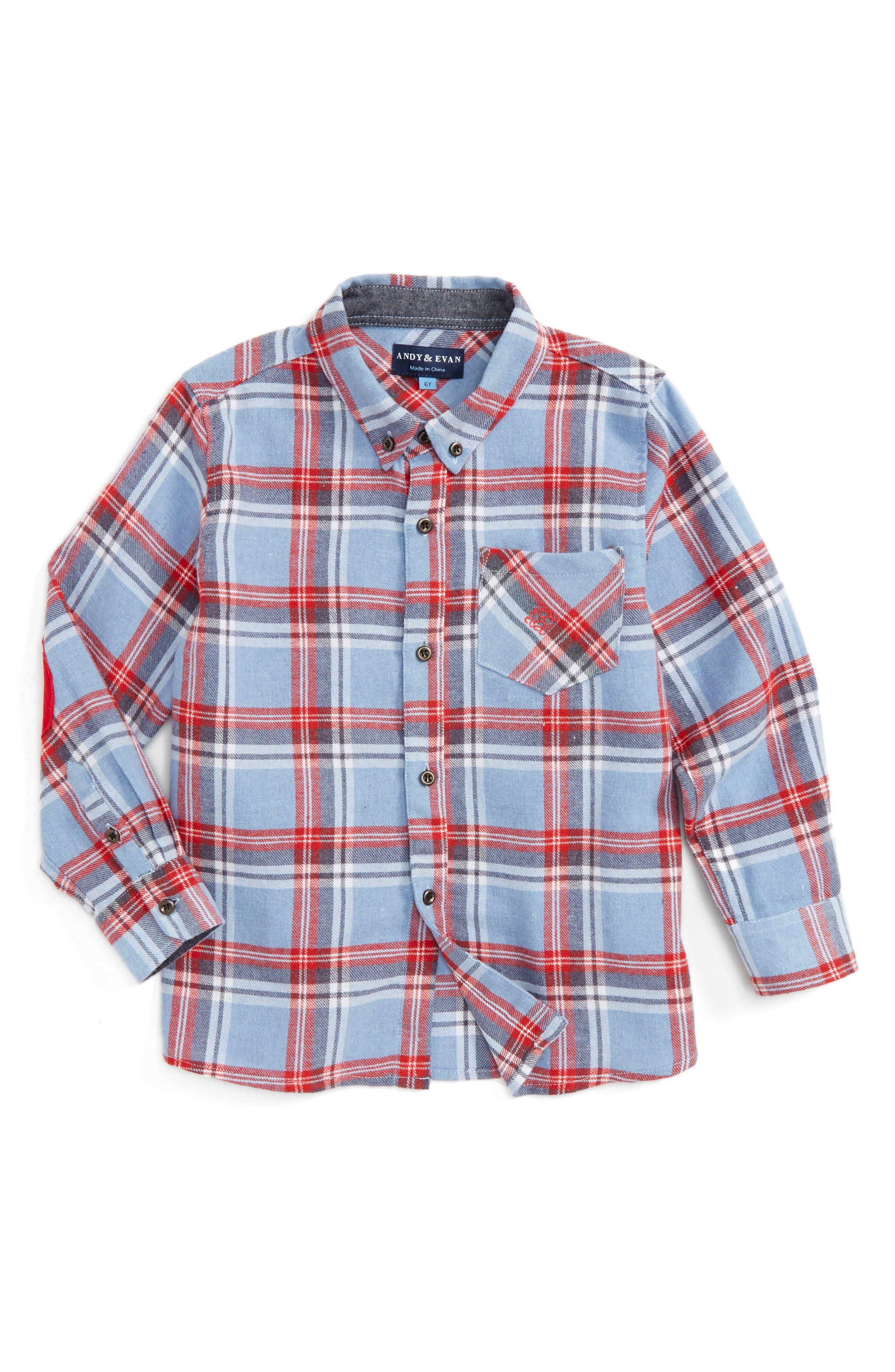 Plaid Flannel Shirt,                         Main,                         color, Light Blue