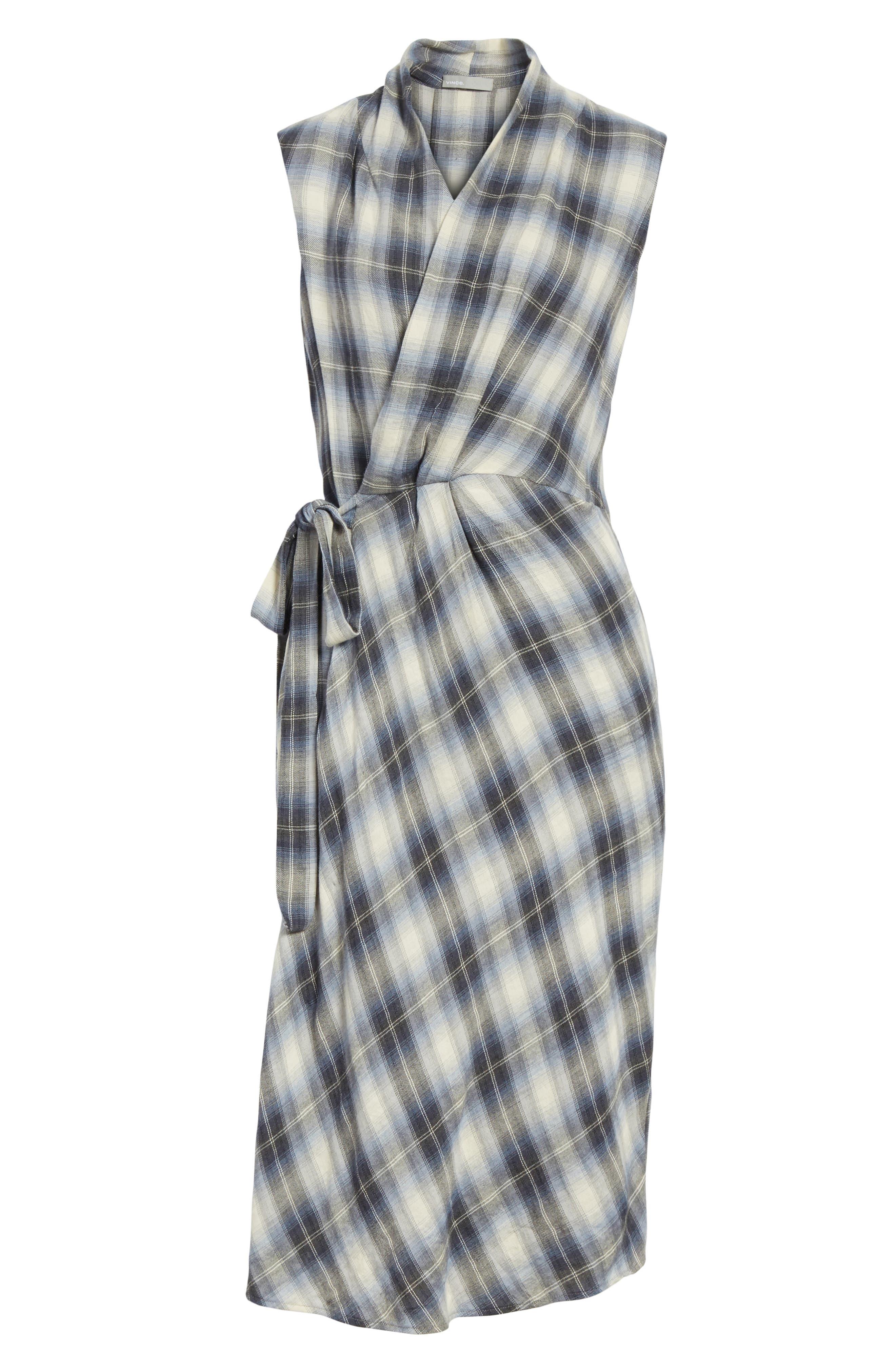 Shadow Plaid Sleeveless Wrap Dress,                             Alternate thumbnail 6, color,                             Twilight