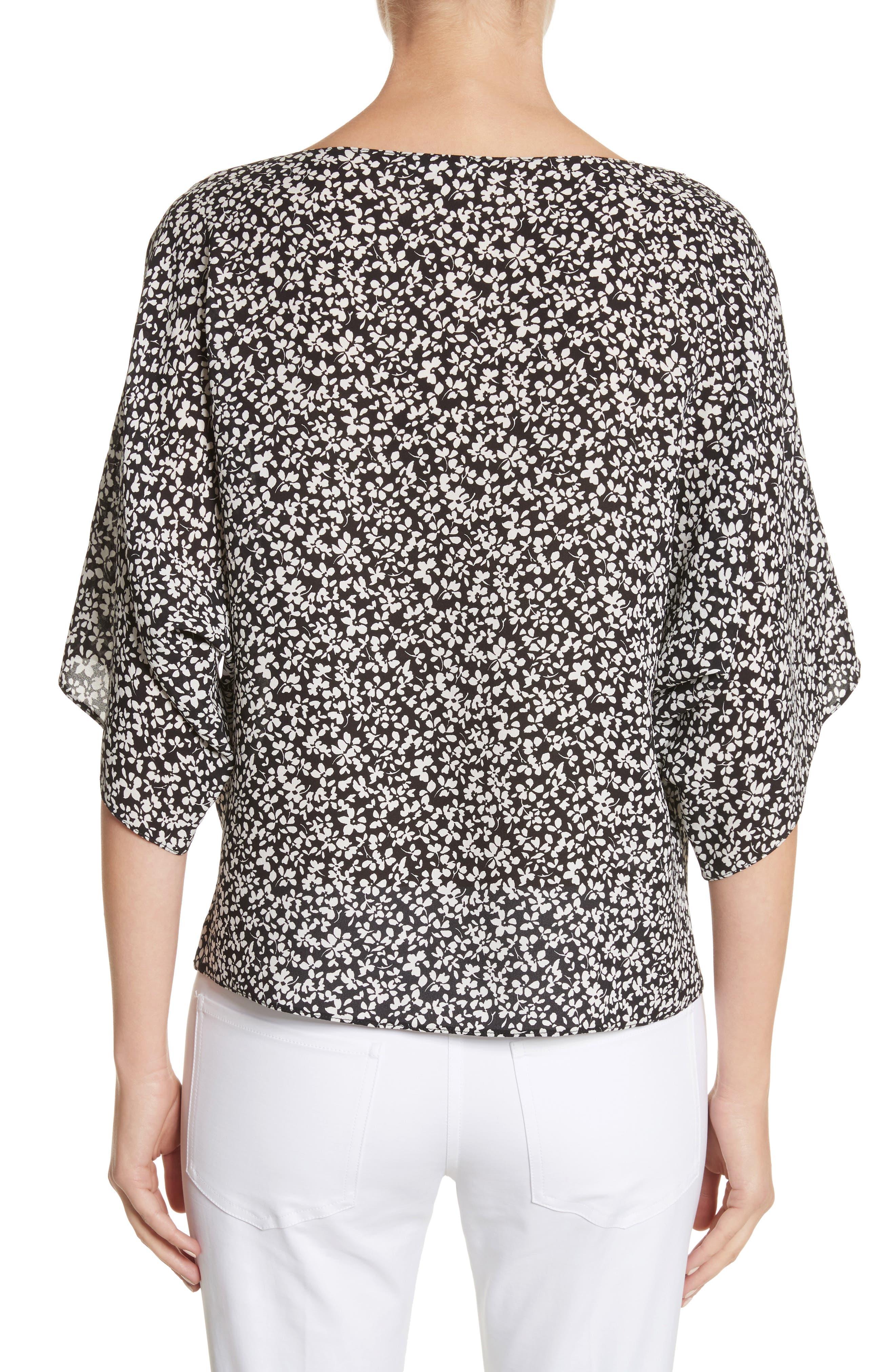 Floral Silk Blouse,                             Alternate thumbnail 2, color,                             Black/White