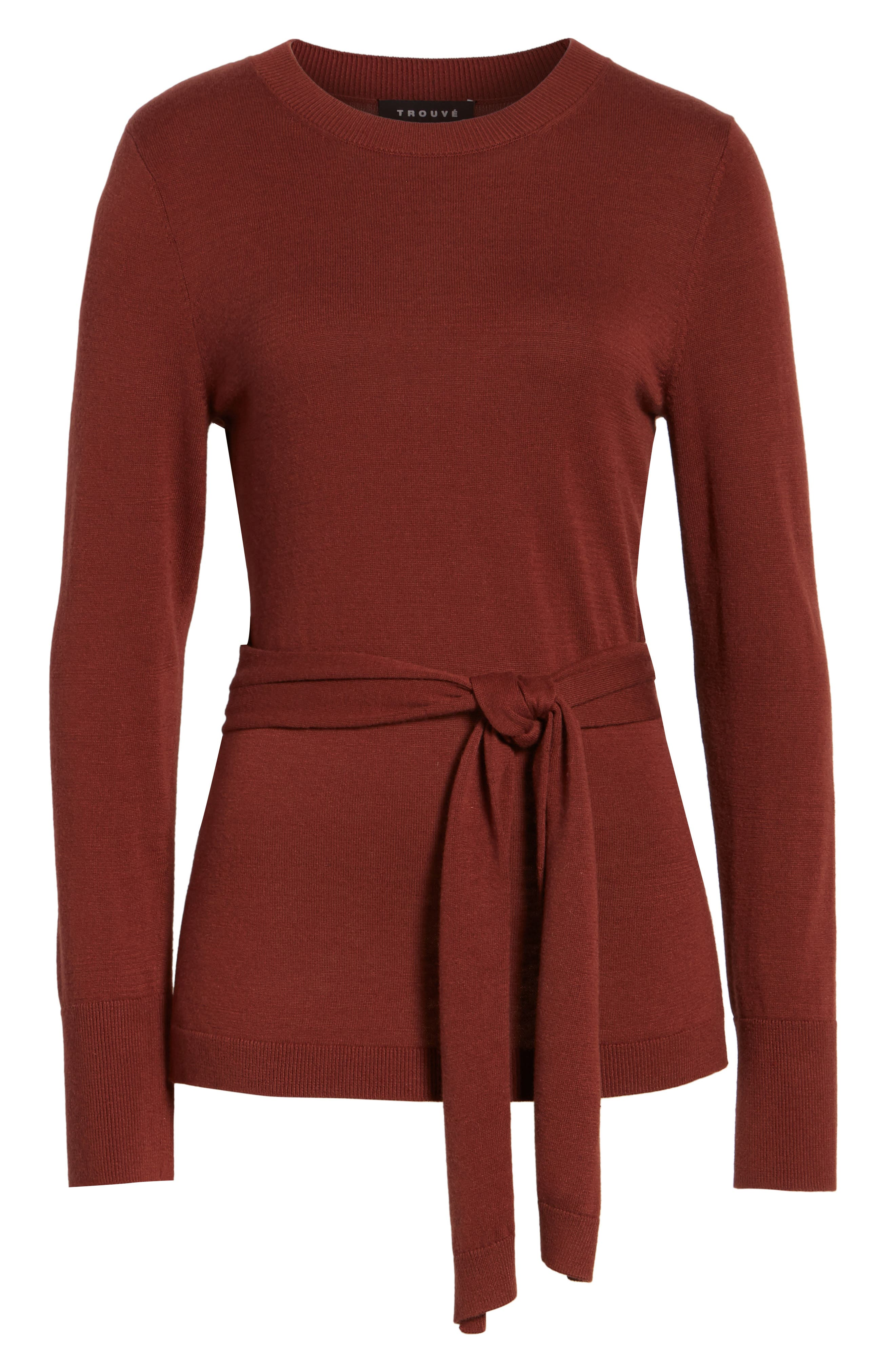 Tie Back Sweater,                             Alternate thumbnail 6, color,                             Rust Madder