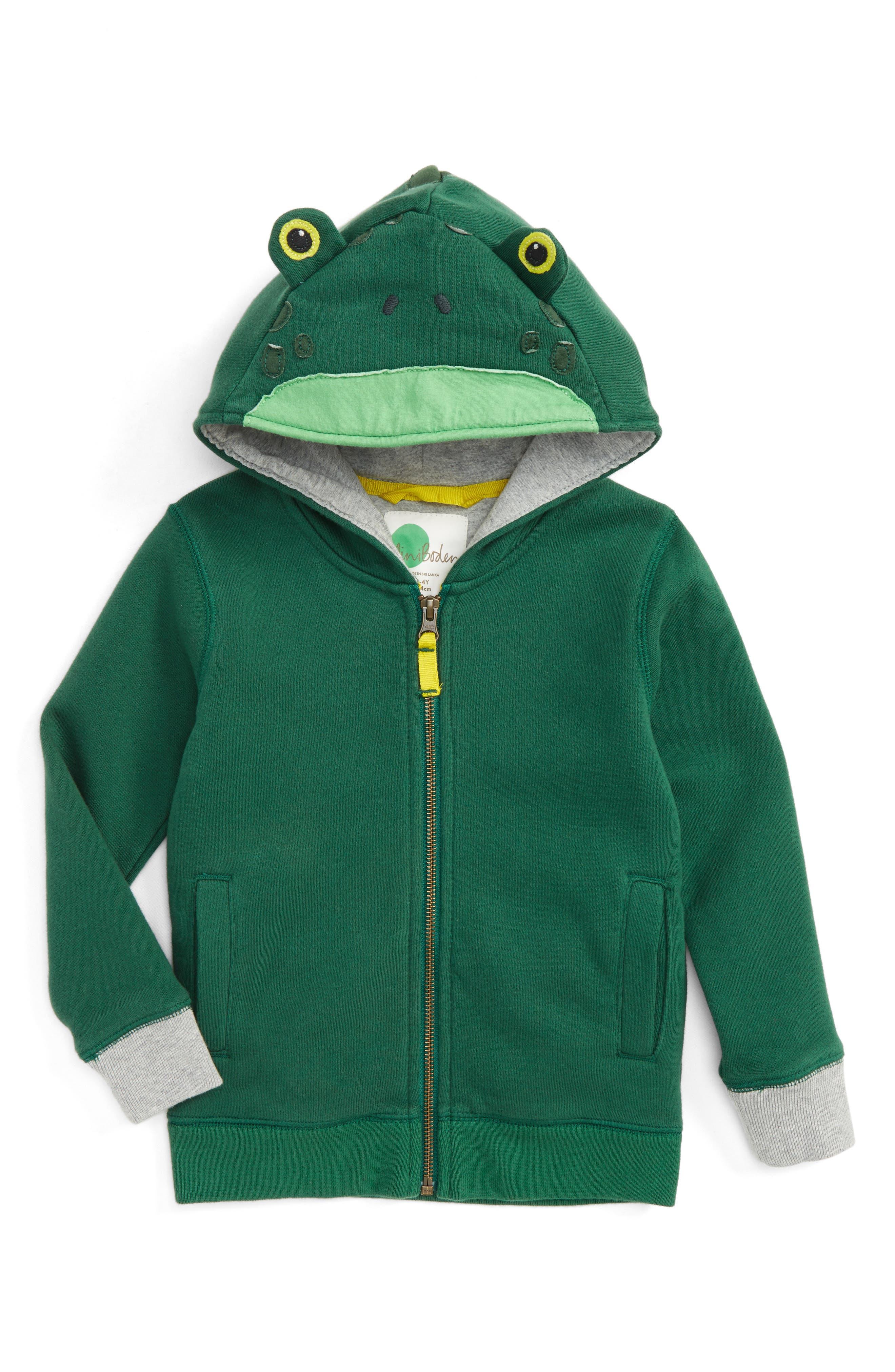 Animal Zip Hoodie,                         Main,                         color, Timber Green Frog