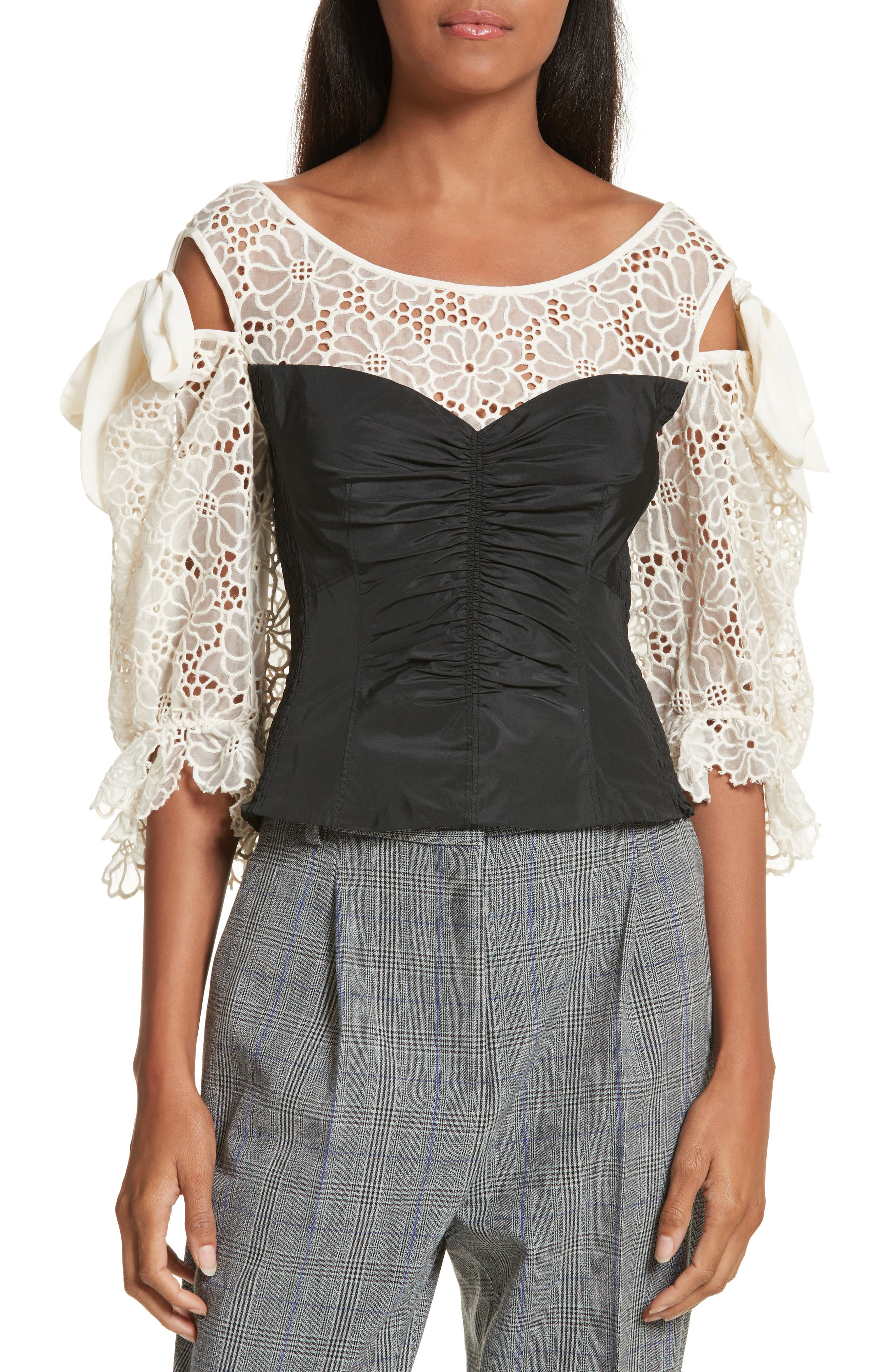 Malorie Embroidered Eyelet Top,                         Main,                         color, Chalk/ Black