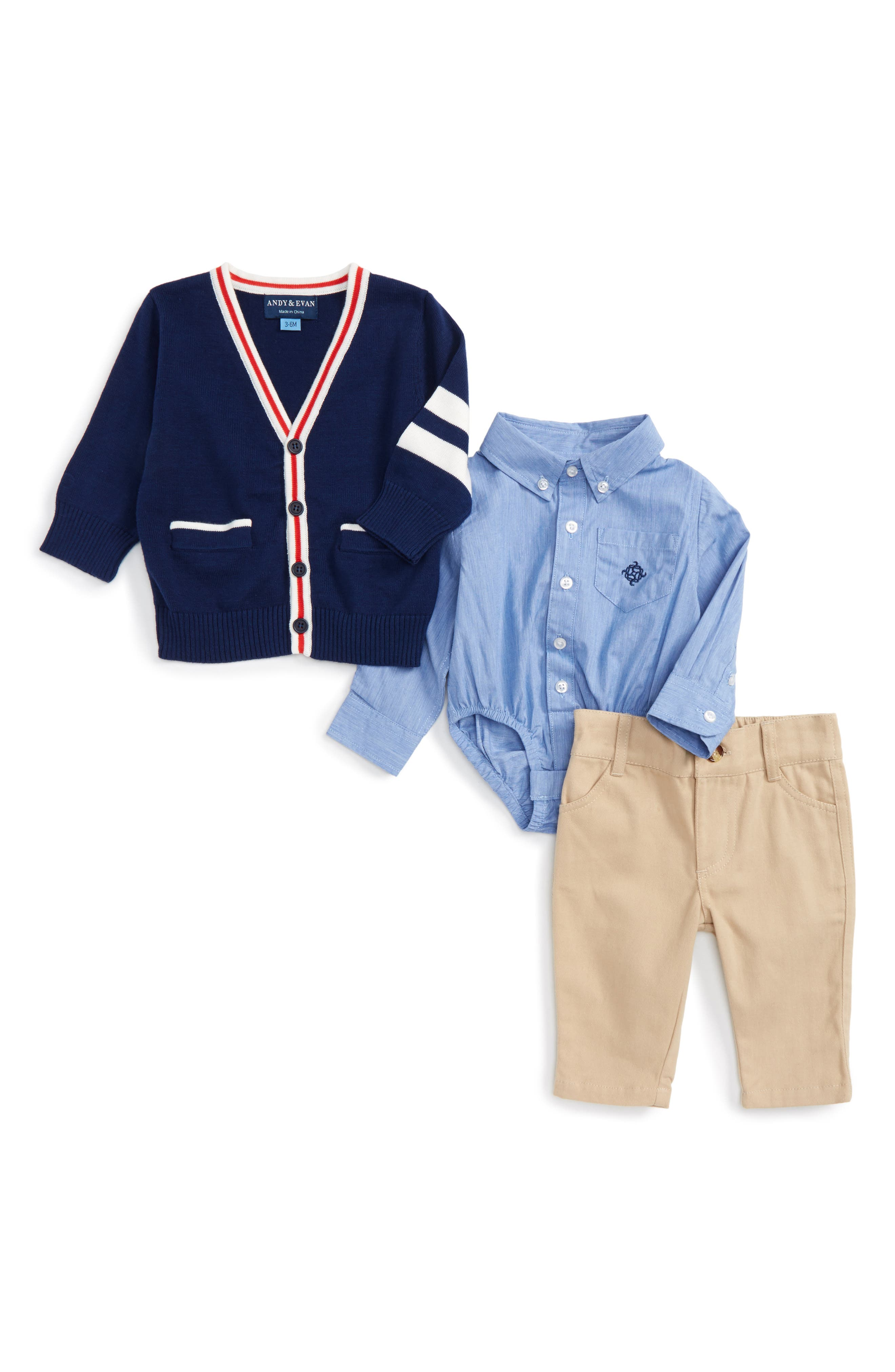 Andy & Evan Varsity Cardigan, Bodysuit & Pants Set (Baby Boys)