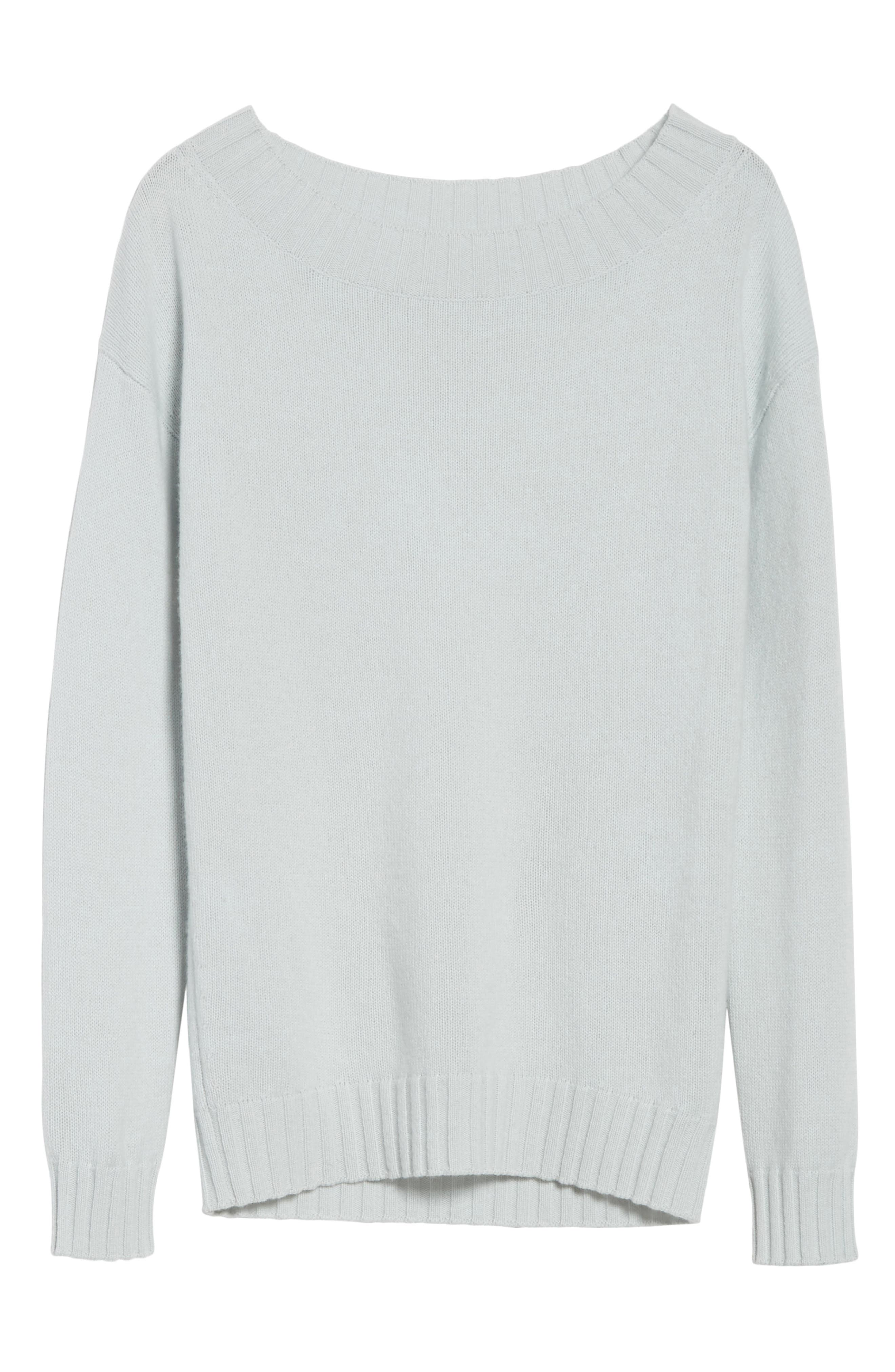 Off the Shoulder Wool & Cashmere Sweater,                             Alternate thumbnail 6, color,                             Sea