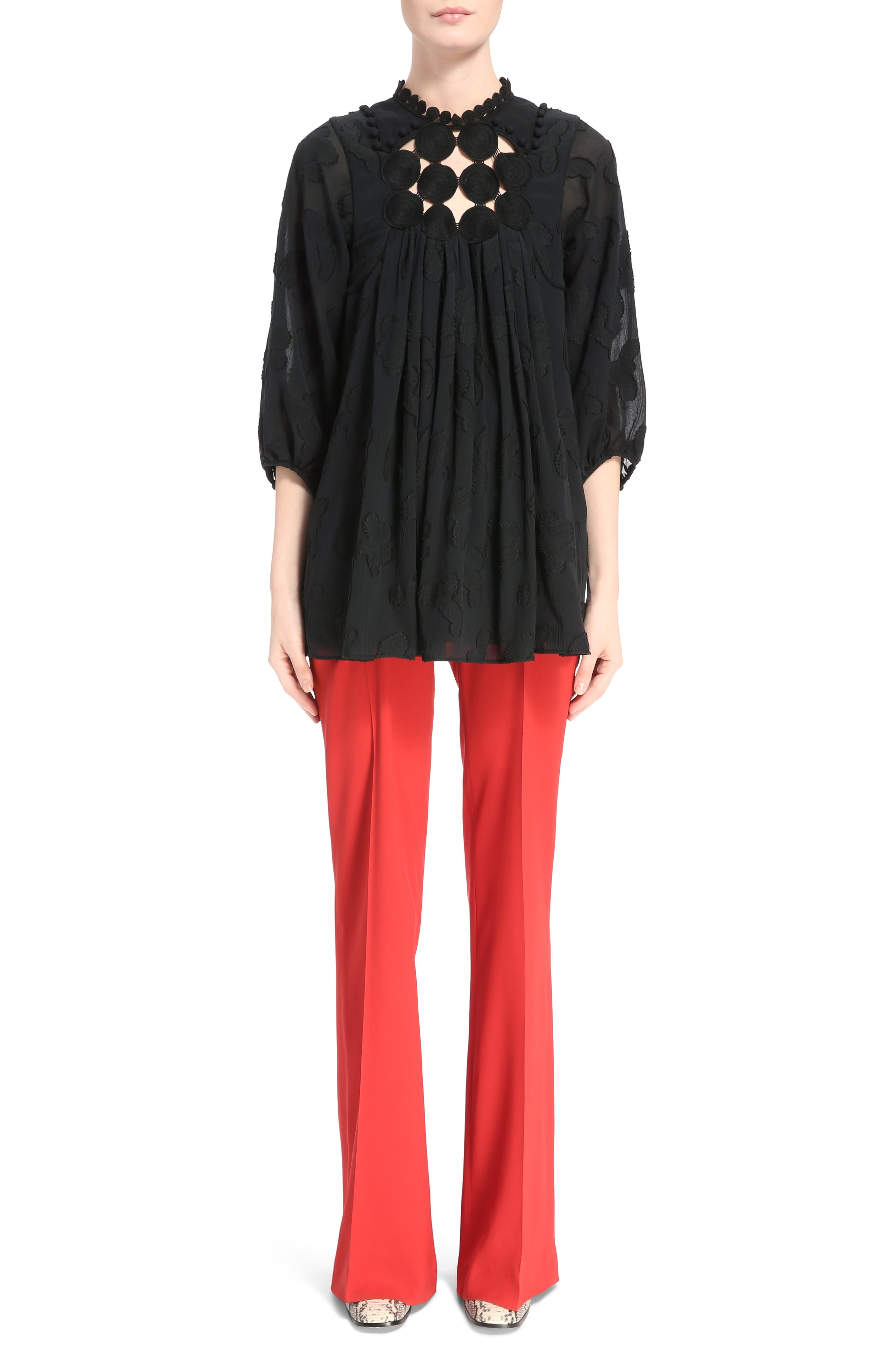 Cady Flare Suiting Pants,                             Alternate thumbnail 6, color,                             Ginger Red
