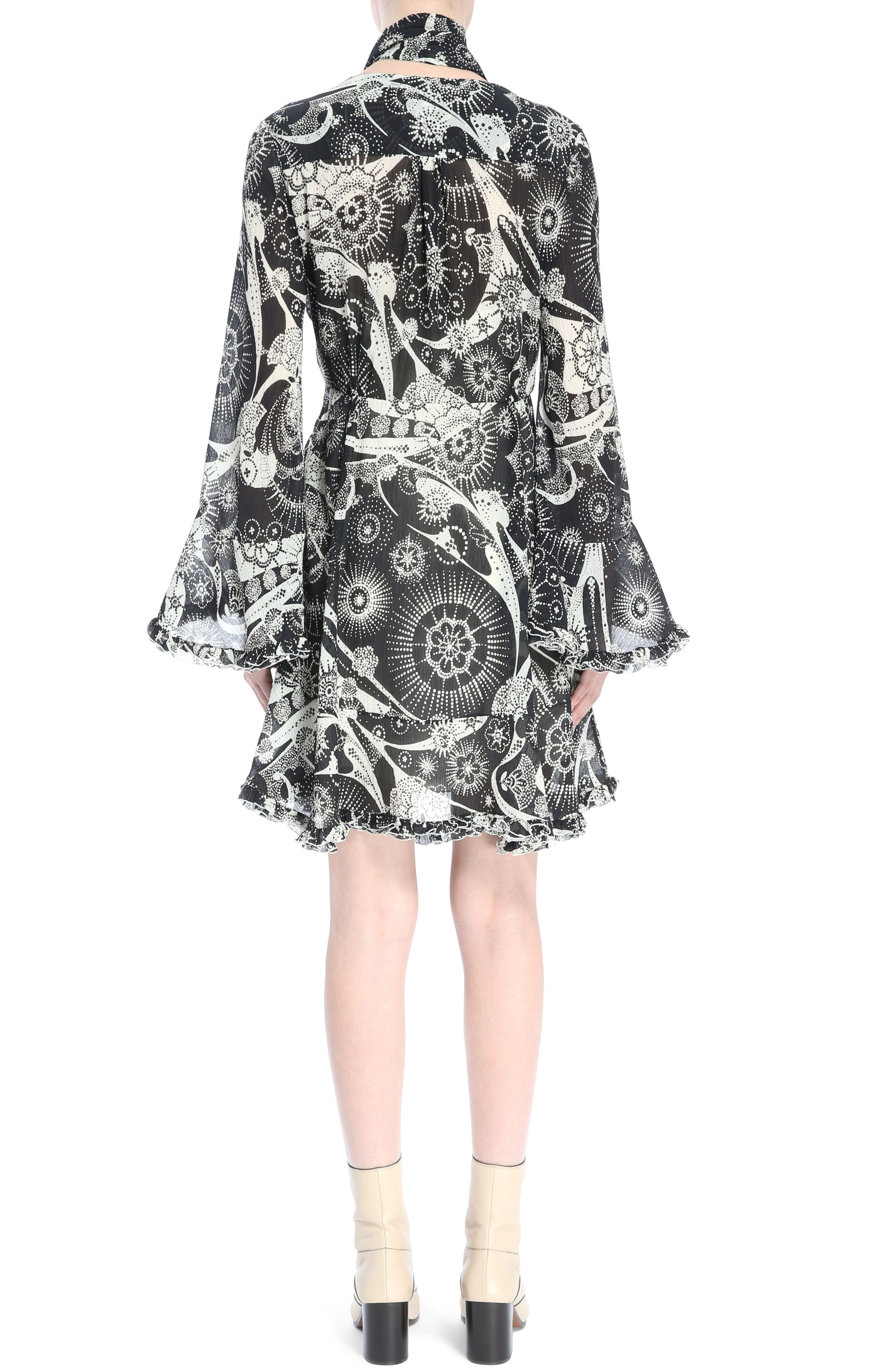 Dotty Ruffle Trim Crépon Dress with Scarf,                             Alternate thumbnail 2, color,                             Black-White