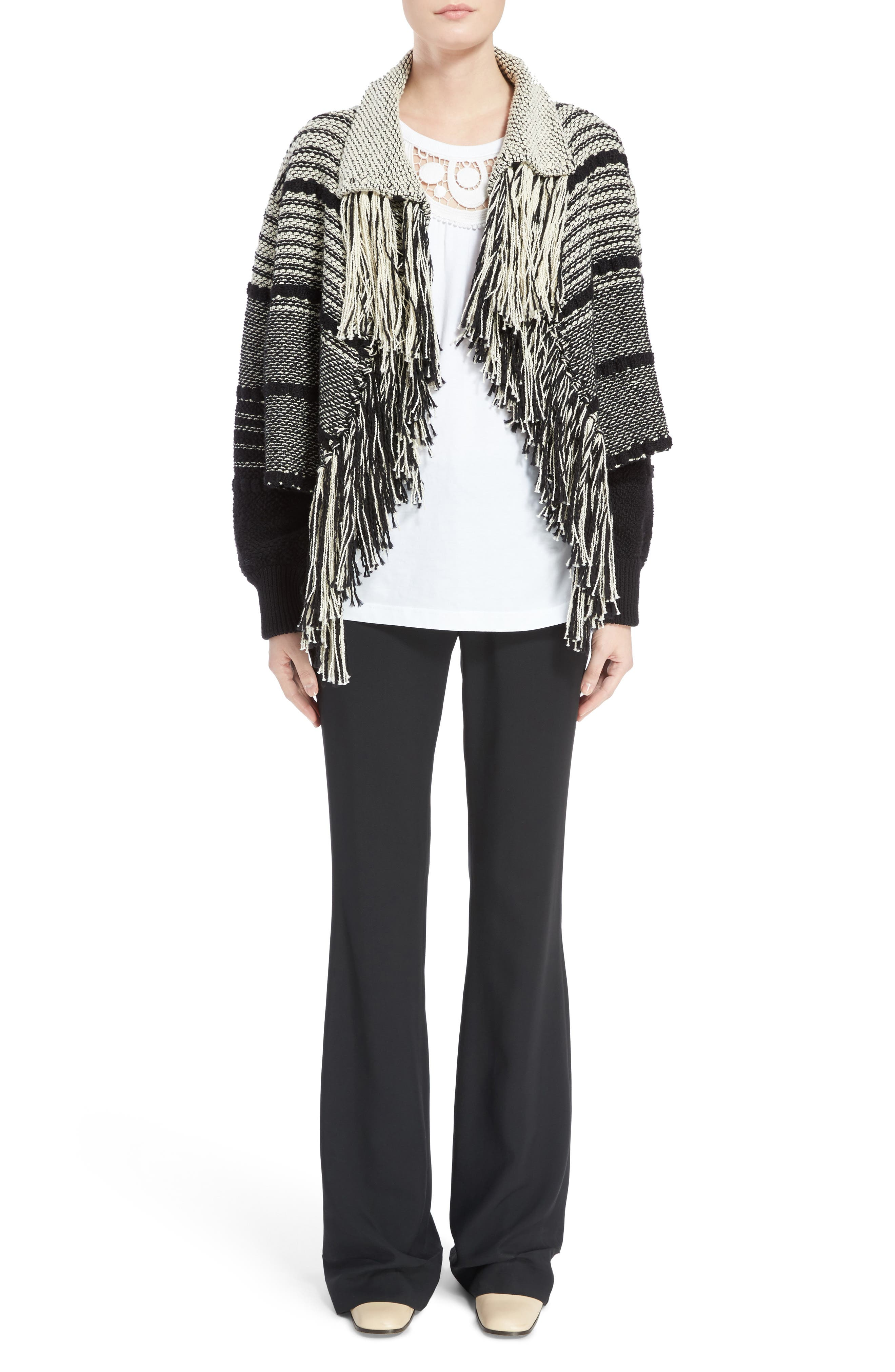Alternate Image 6  - Chloé Fringe Trim Stripe Cardigan