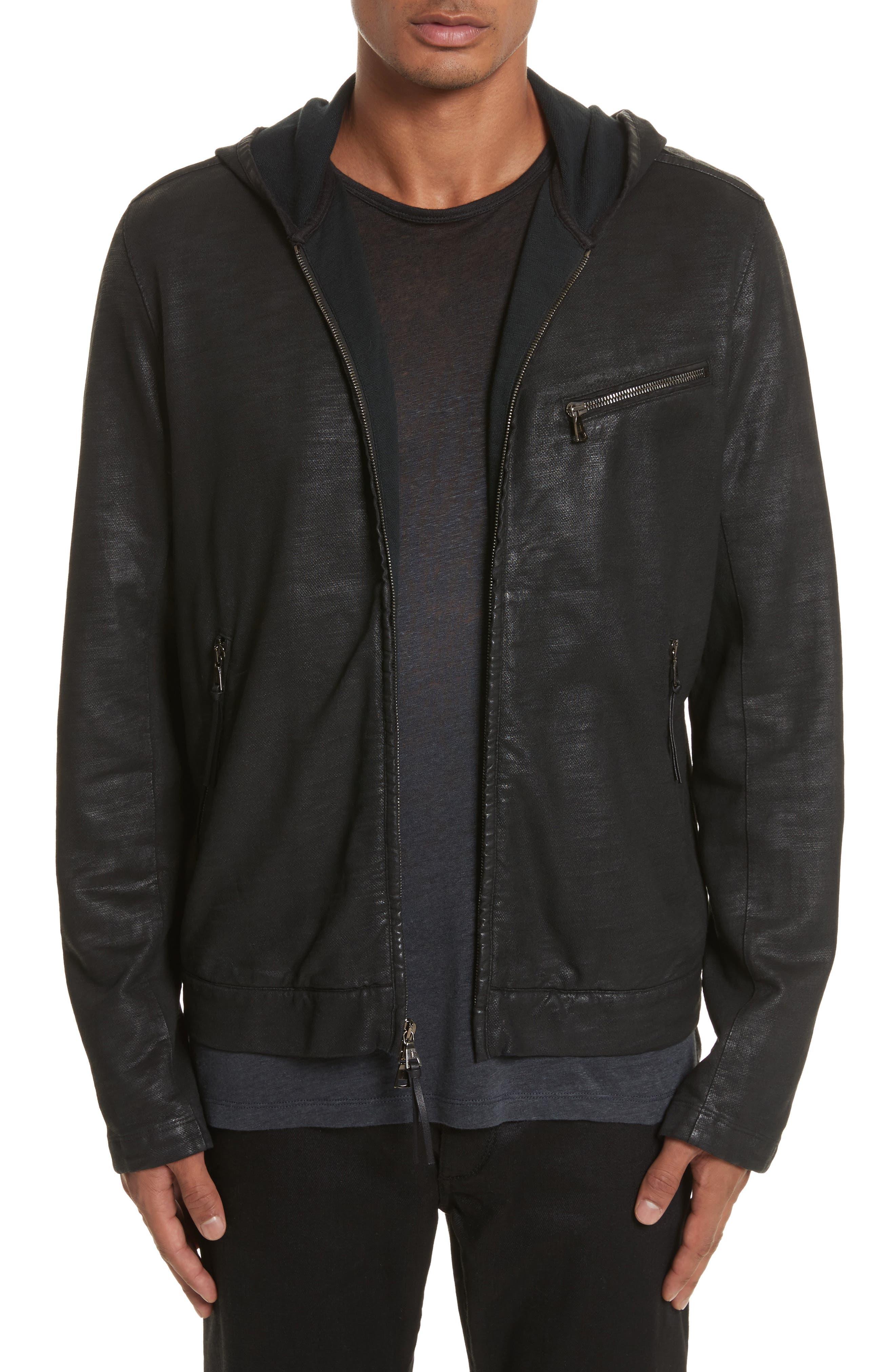 Coated Zip Hoodie,                         Main,                         color, Black