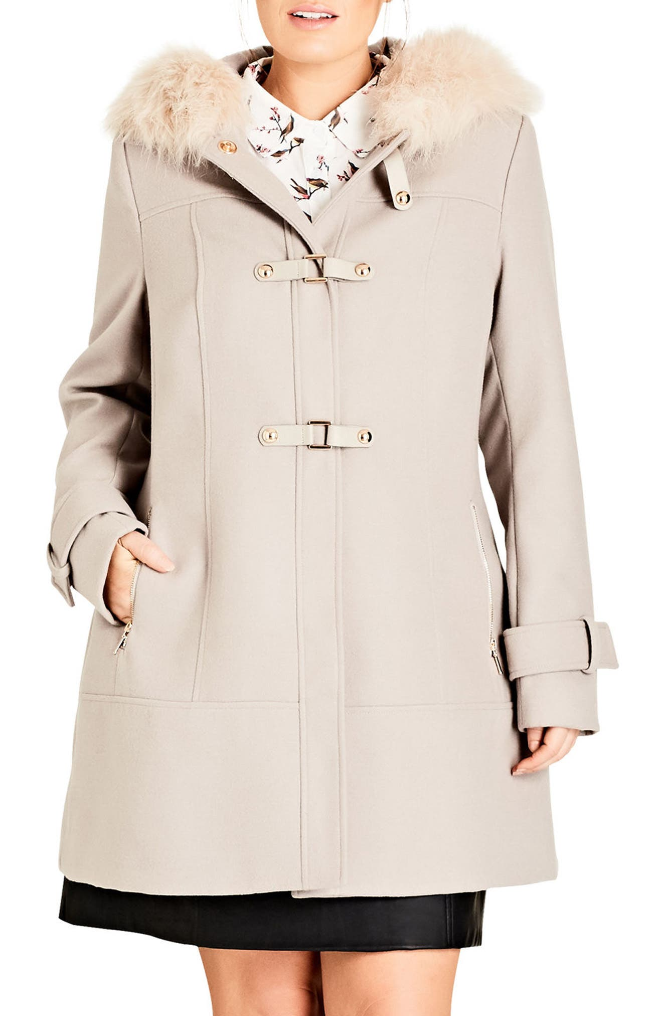 Main Image - City Chic Wonderland Peacoat with Faux Fur Trim (Plus Size)