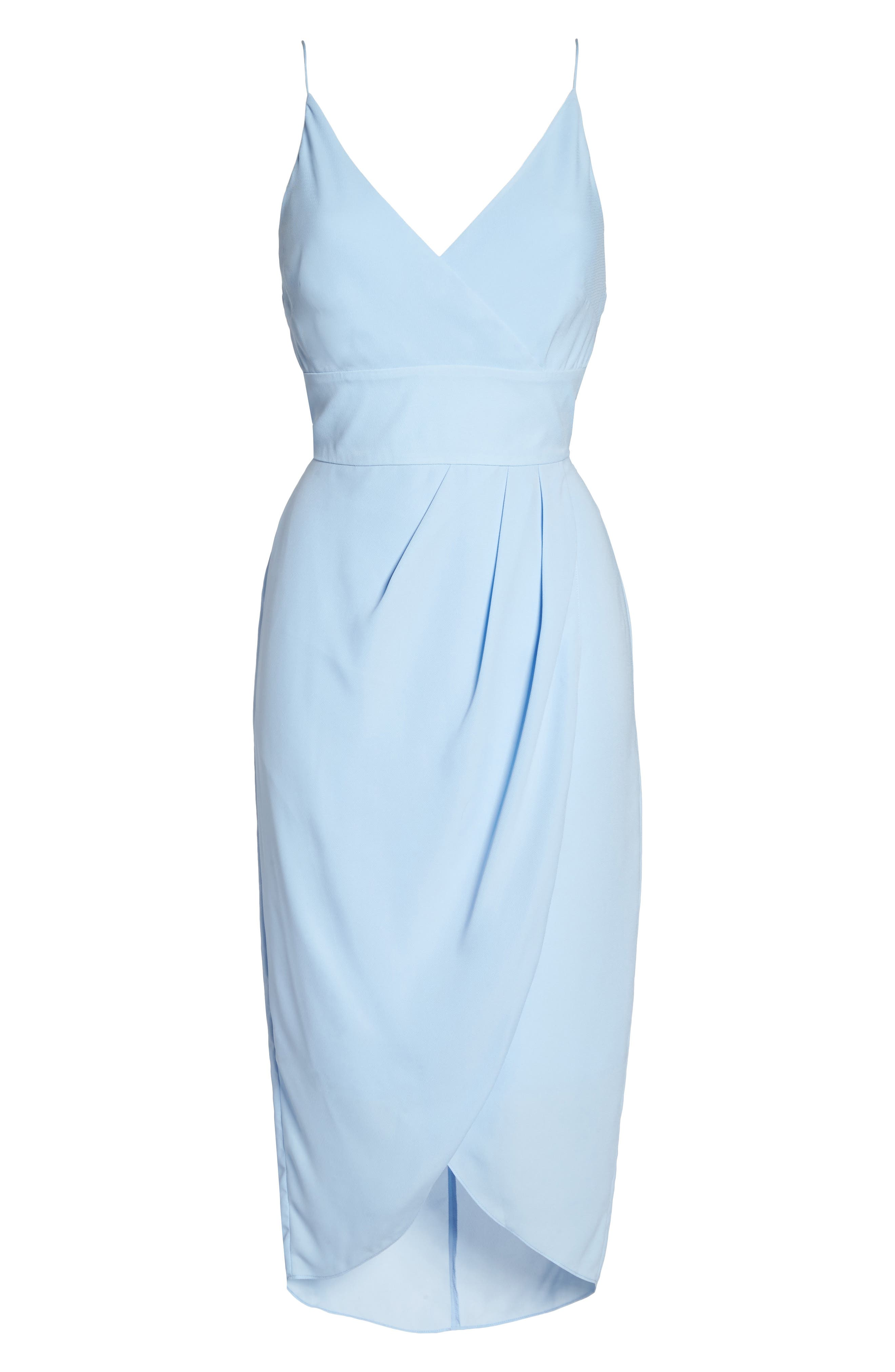 Lily Drape Sheath Dress,                             Alternate thumbnail 6, color,                             Pale Blue