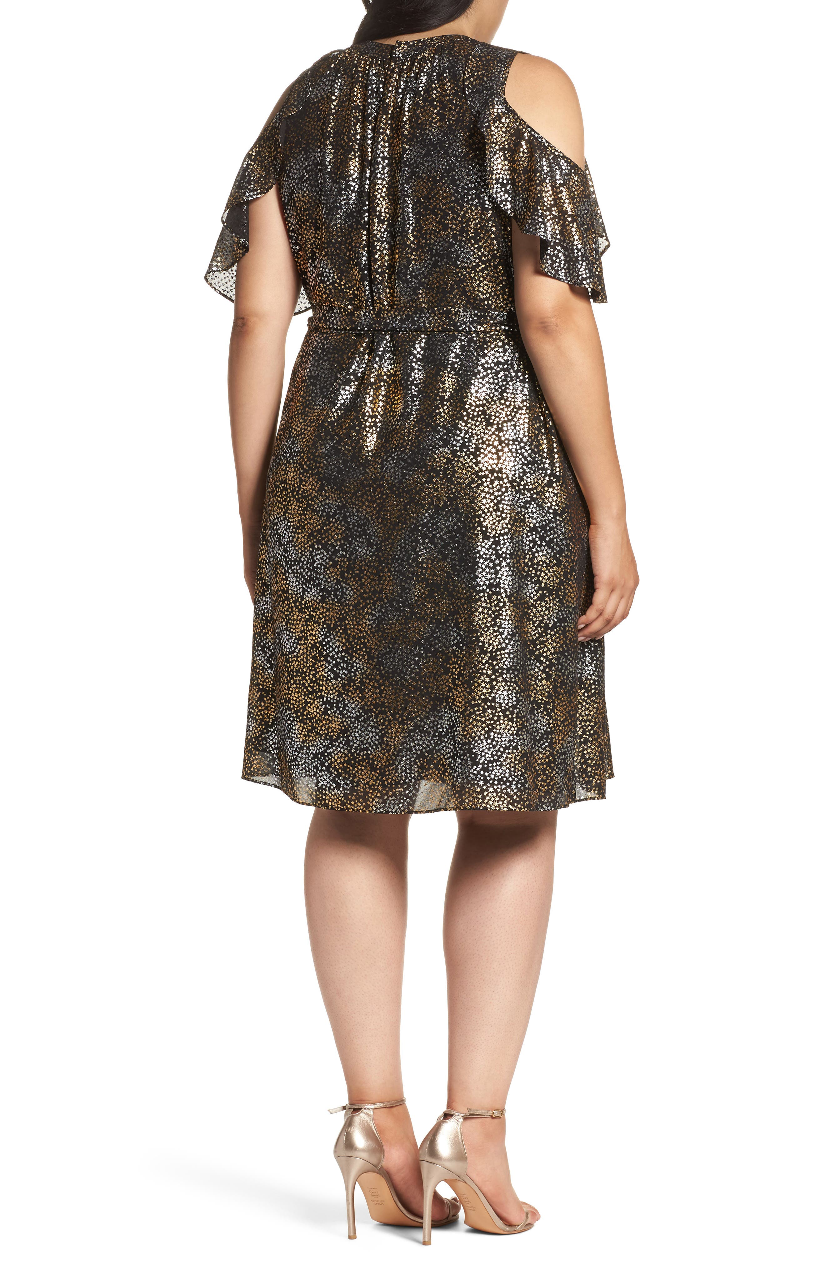 Alternate Image 2  - MICHAEL Michael Kors Cold Shoulder Metallic Star A-Line Dress (Plus Size)