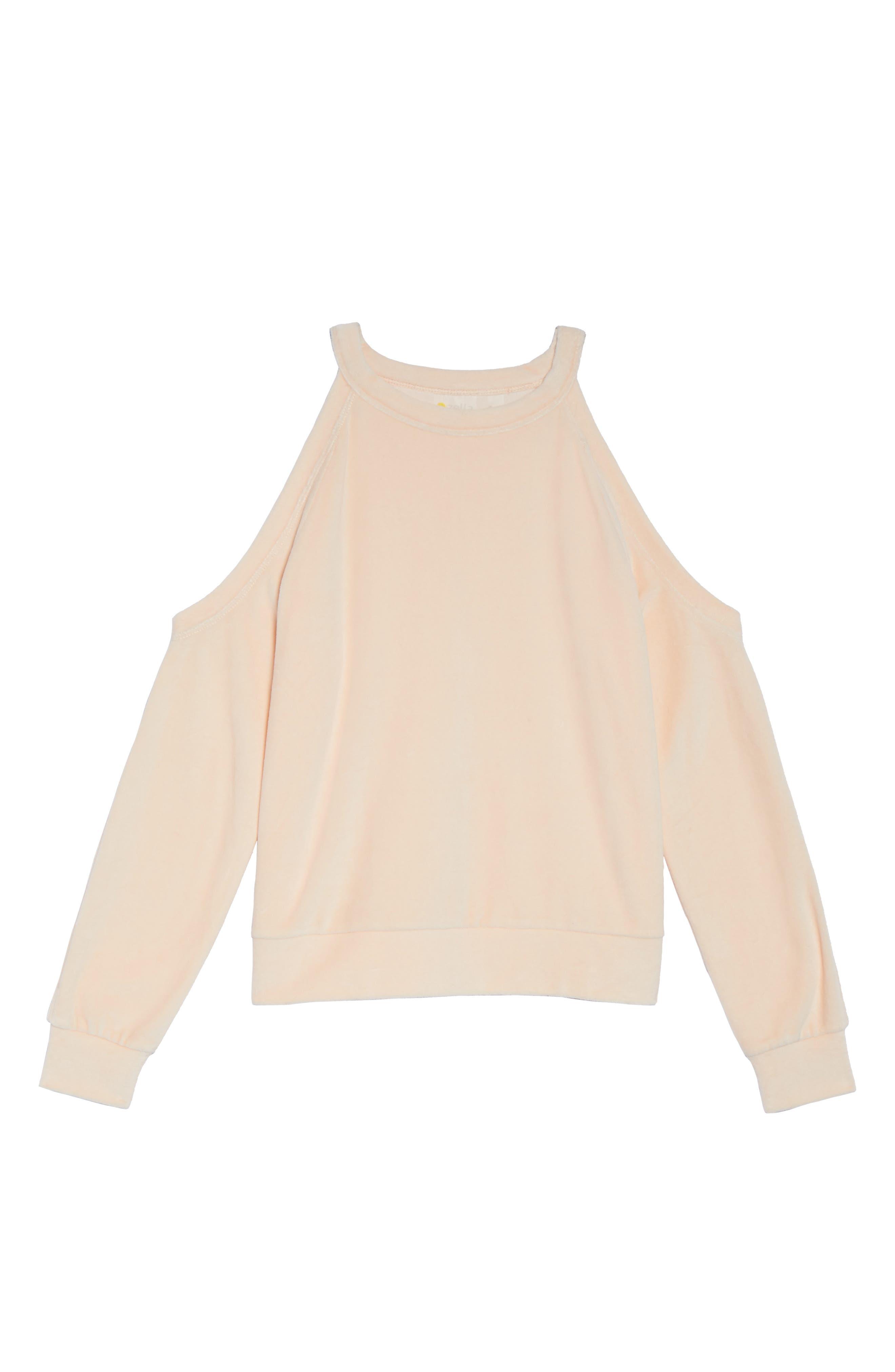 Cara Velour Cold Shoulder Top,                             Alternate thumbnail 7, color,                             Pink Scallop