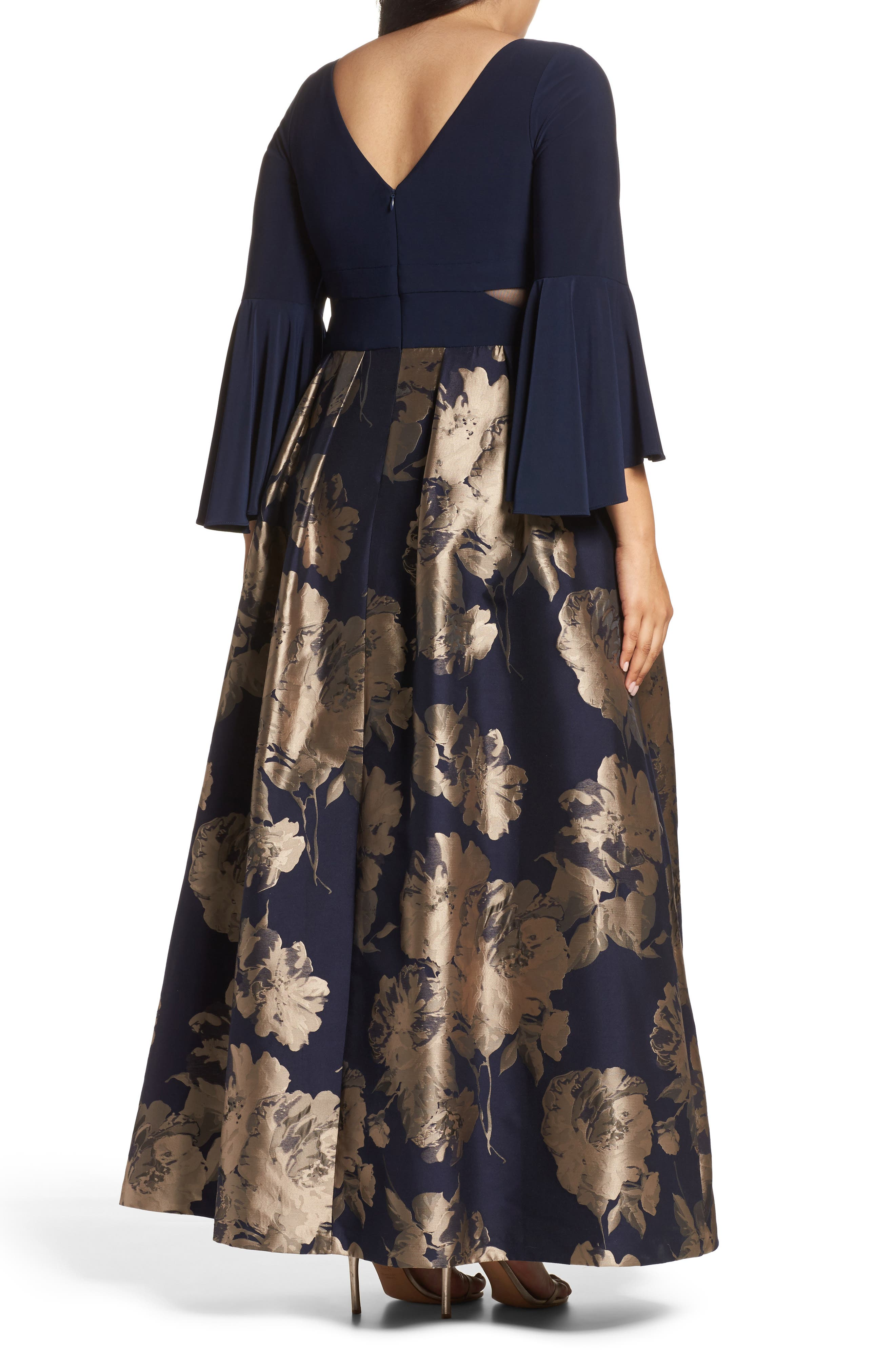 Alternate Image 2  - Xscape Long Brocade Ballgown (Plus Size)