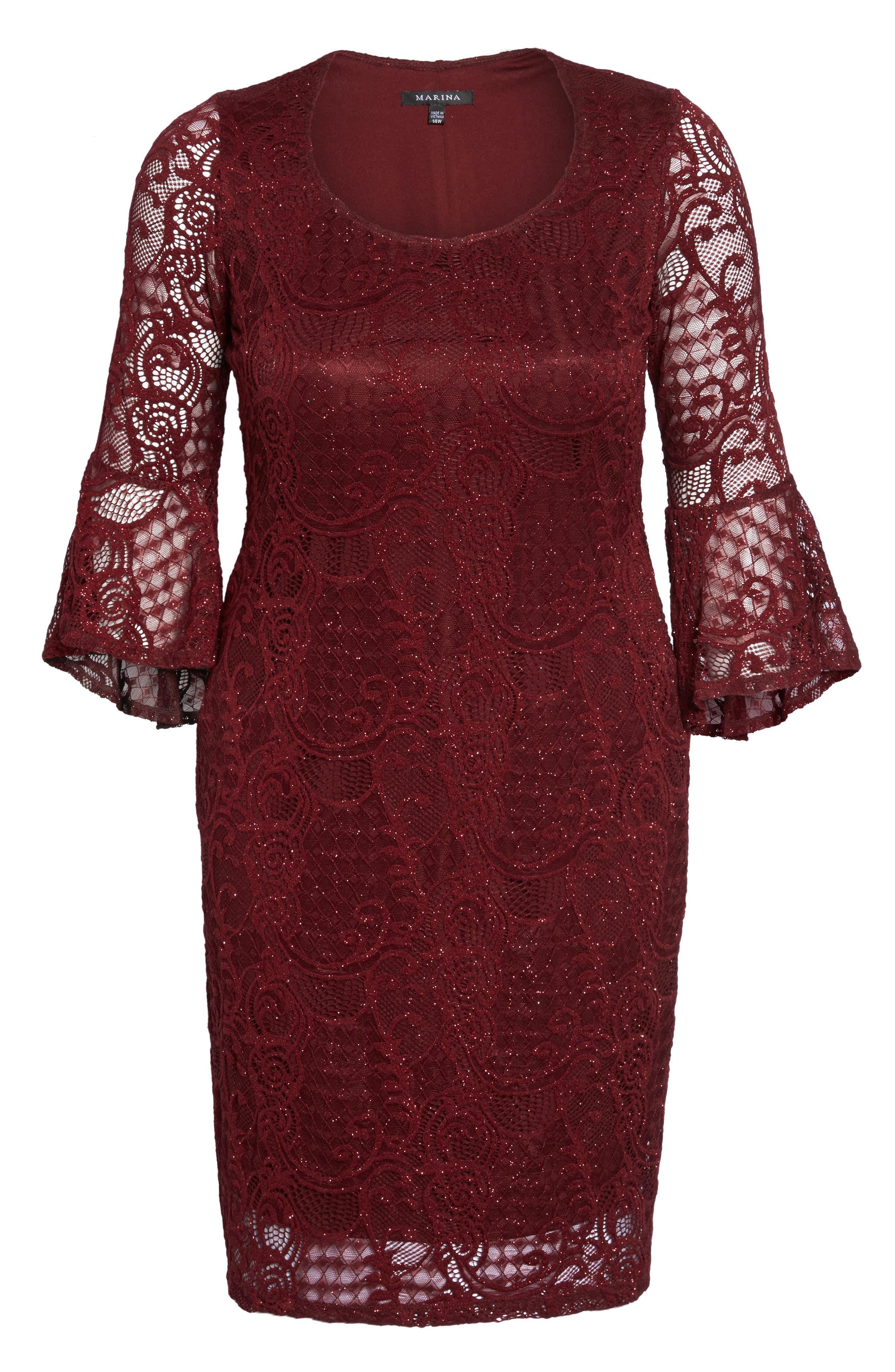 Alternate Image 6  - Marina Bell Sleeve Glitter Lace Sheath Dress (Plus Size)