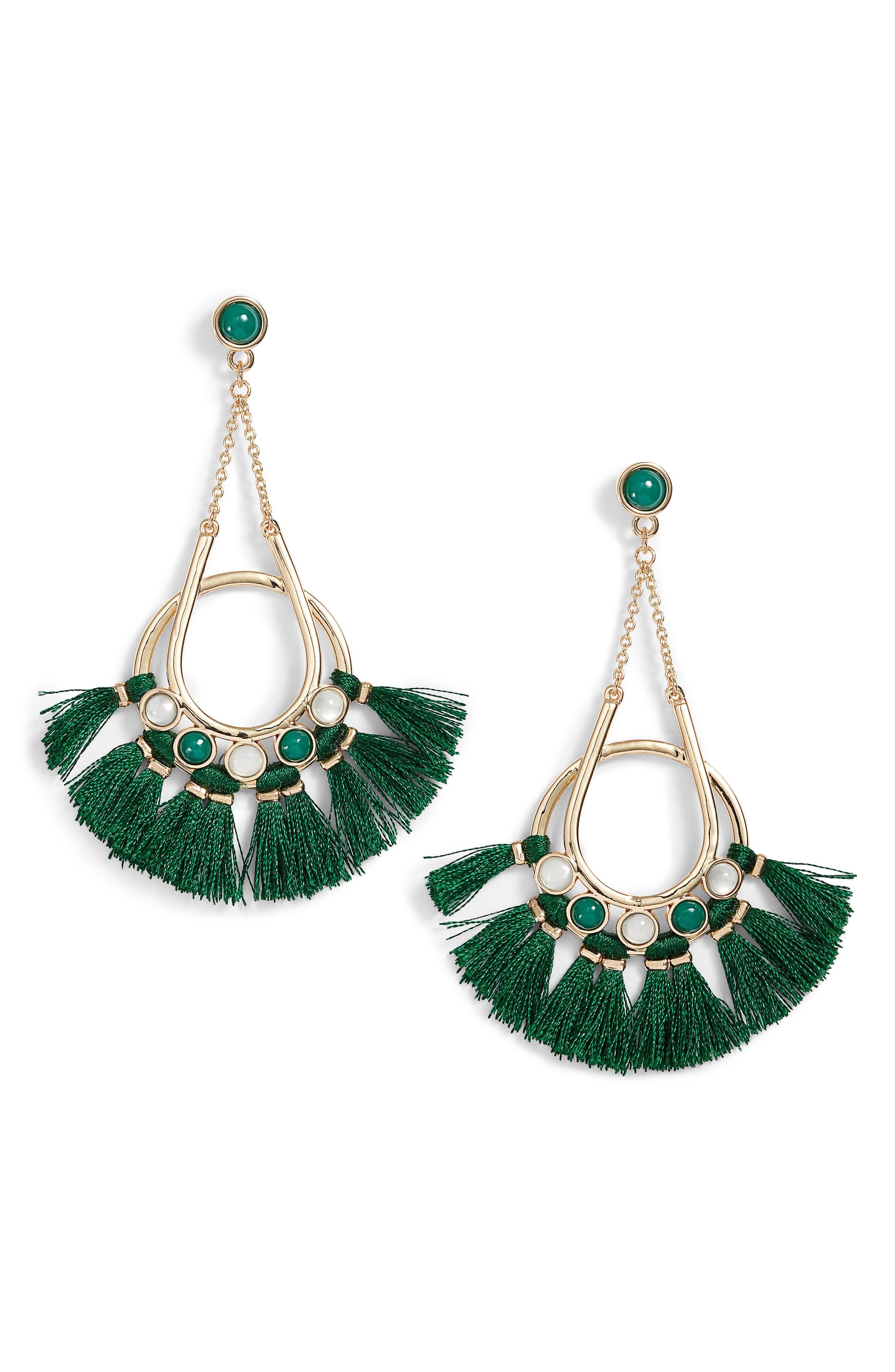 Utopia Tassel Chandelier Earrings,                         Main,                         color, Gold/ Green Tassels