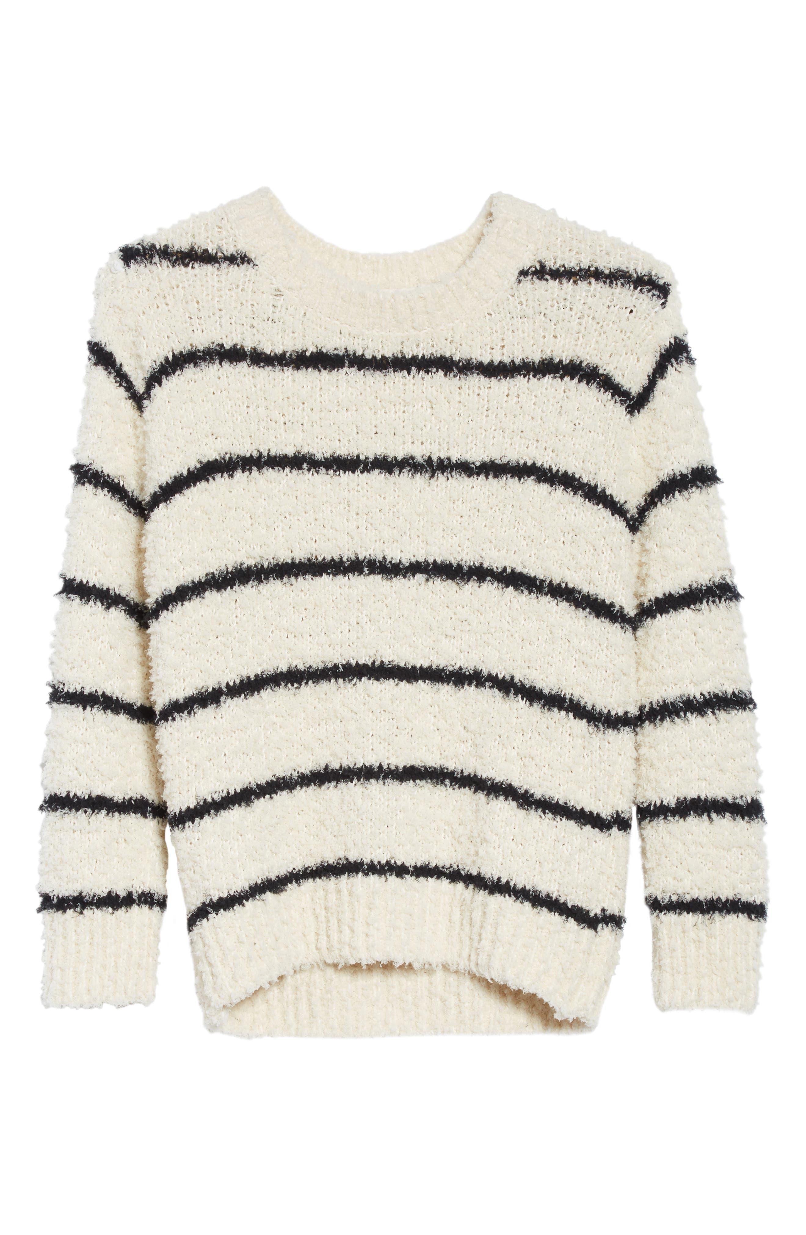 Fuzzy Stripe Sweater,                             Alternate thumbnail 6, color,                             Cream/ Black