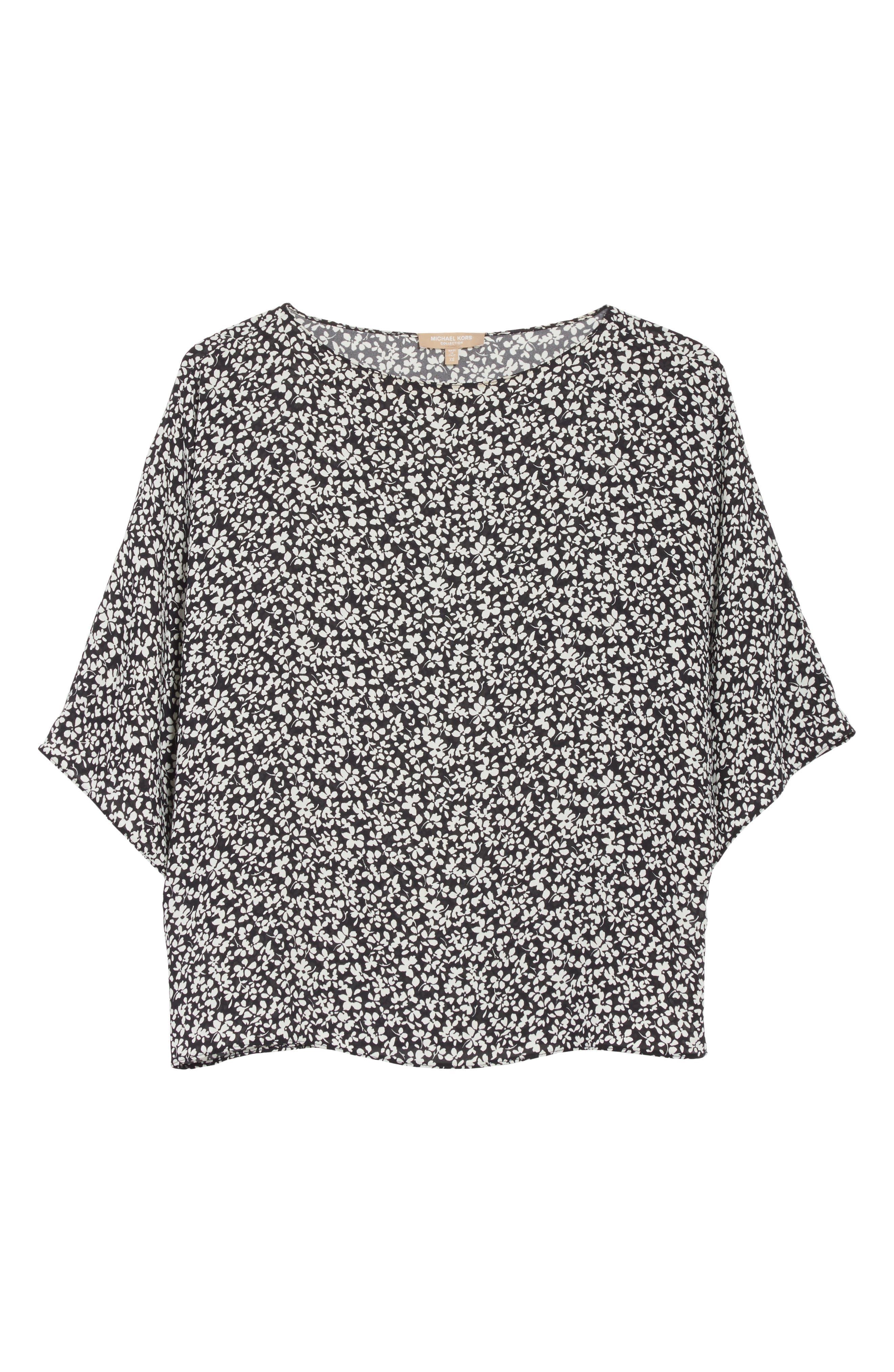 Floral Silk Blouse,                             Alternate thumbnail 7, color,                             Black/White