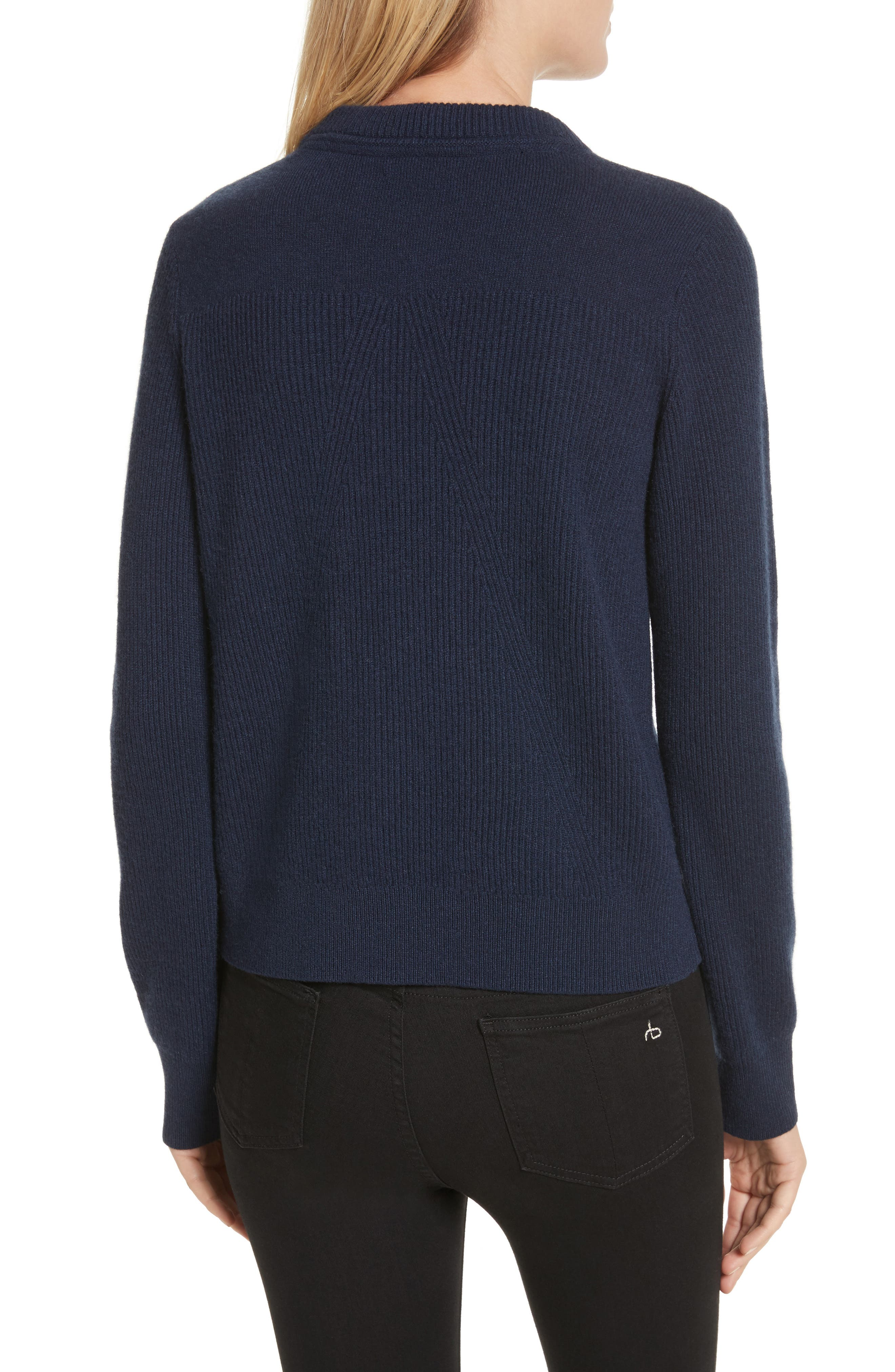 Ace Cashmere Crop Sweater,                             Alternate thumbnail 2, color,                             Navy