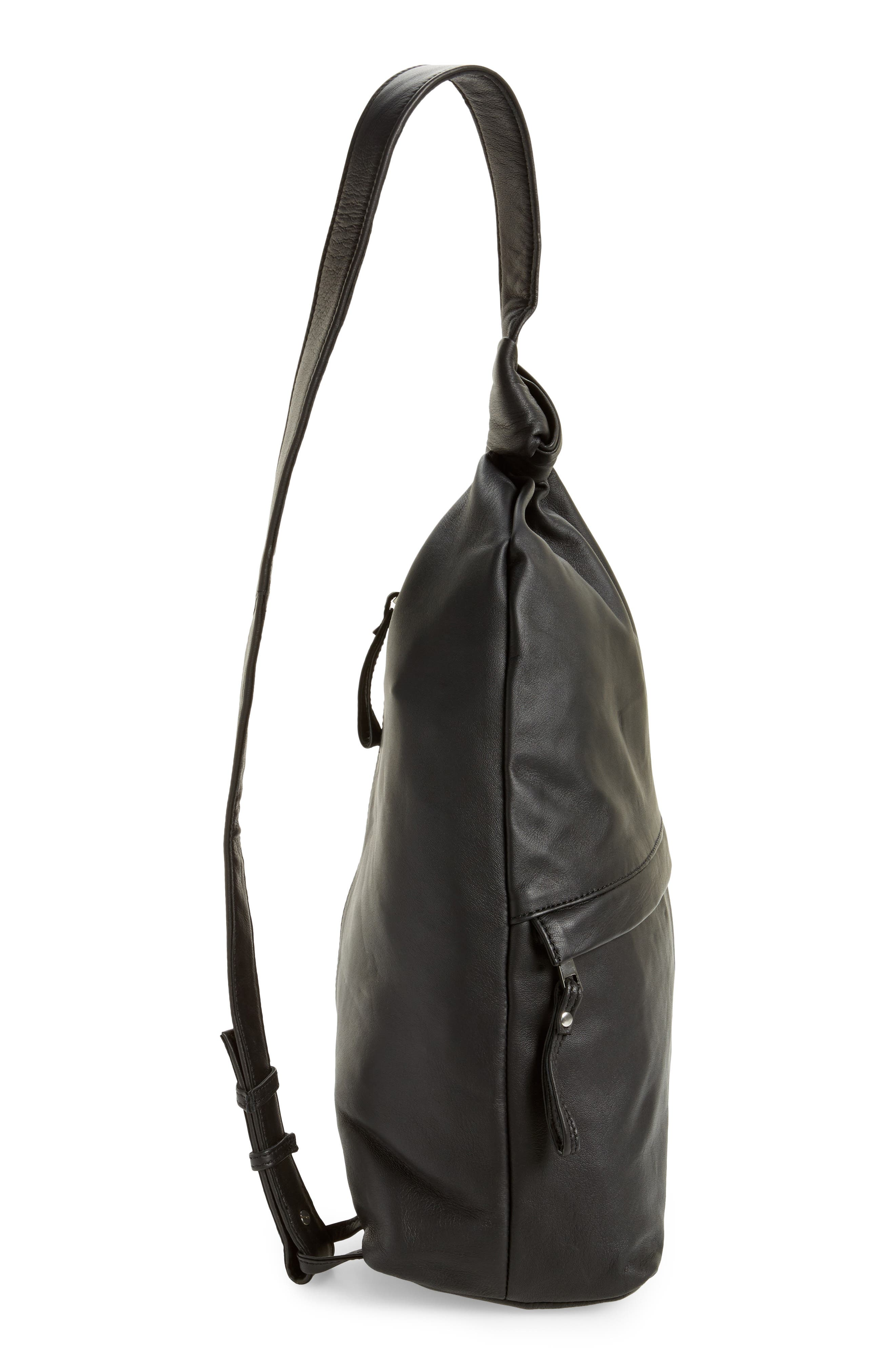 Premium Leather Slouch Knot Backpack,                             Alternate thumbnail 5, color,                             Black