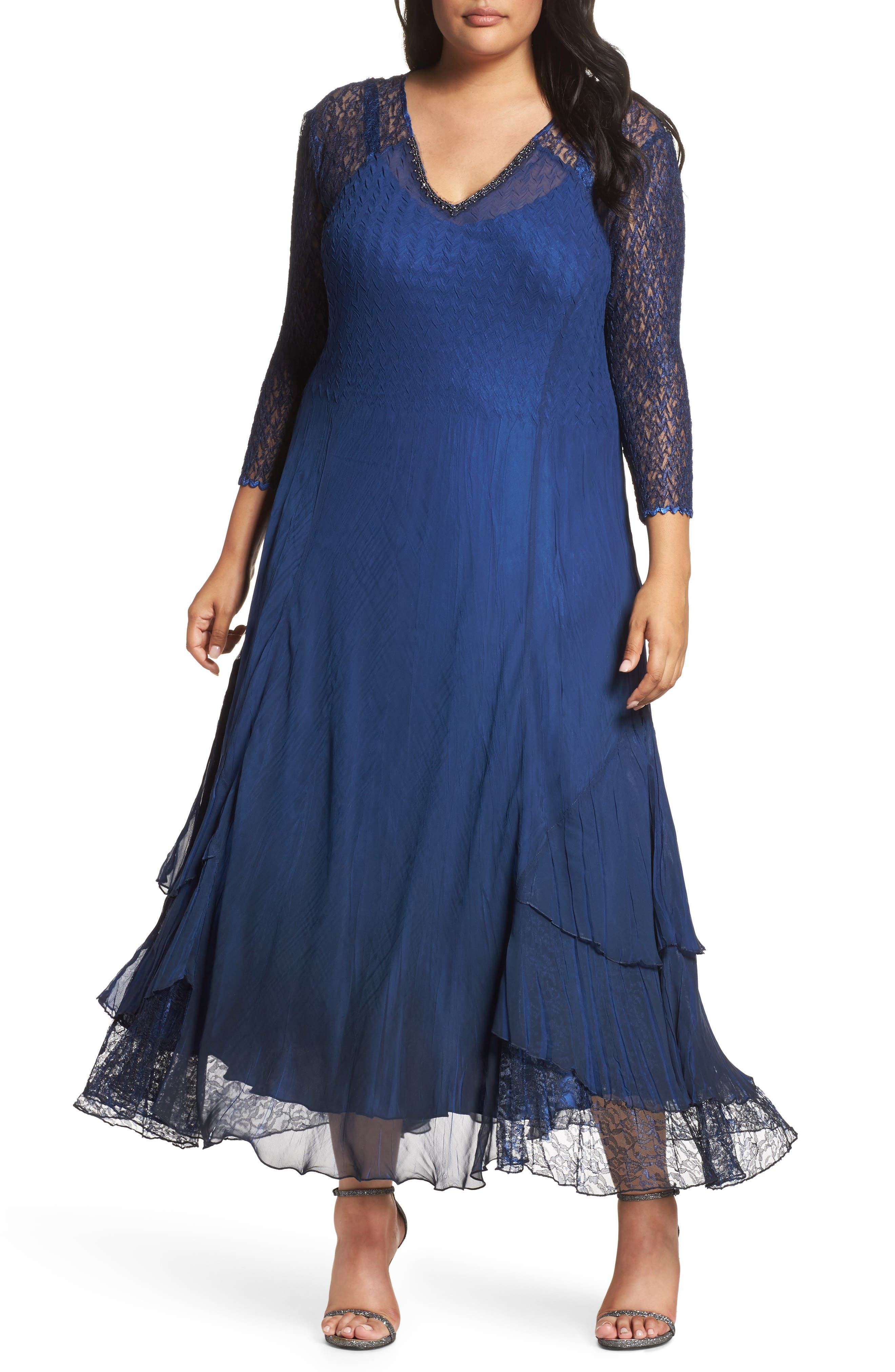 Chiffon Tiered A-Line Dress,                         Main,                         color, Navy Black