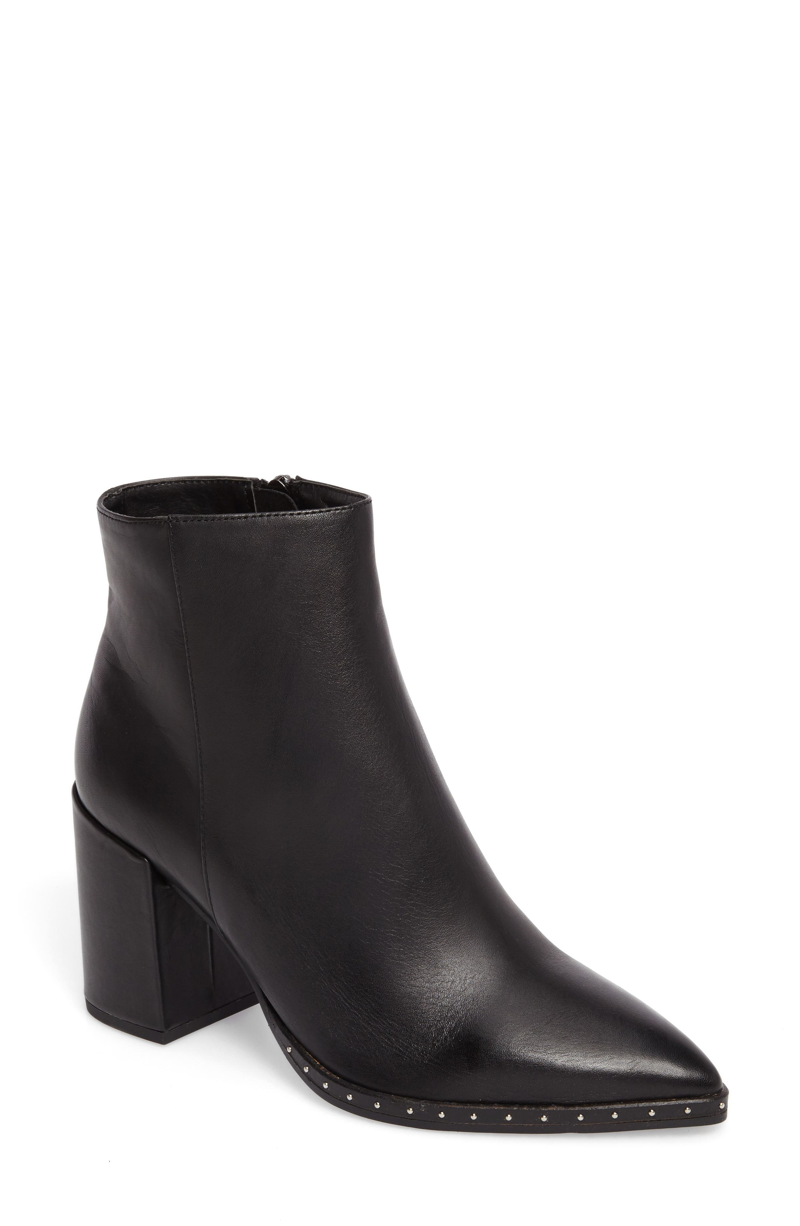 TONY BIANCO Bailey Pointy Toe Bootie in Black Nappa Leather