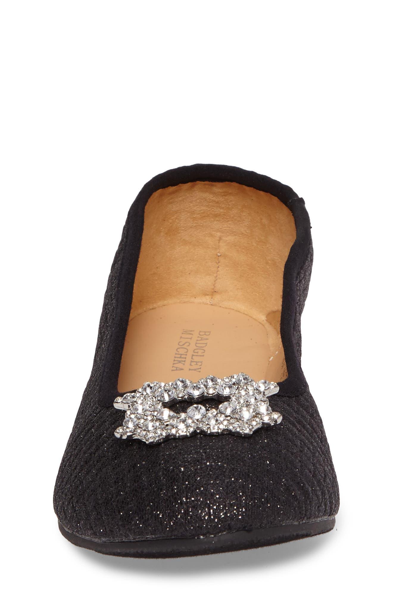 Amber Nidia Embellished Glitter Flat,                             Alternate thumbnail 4, color,                             Black Shimmer