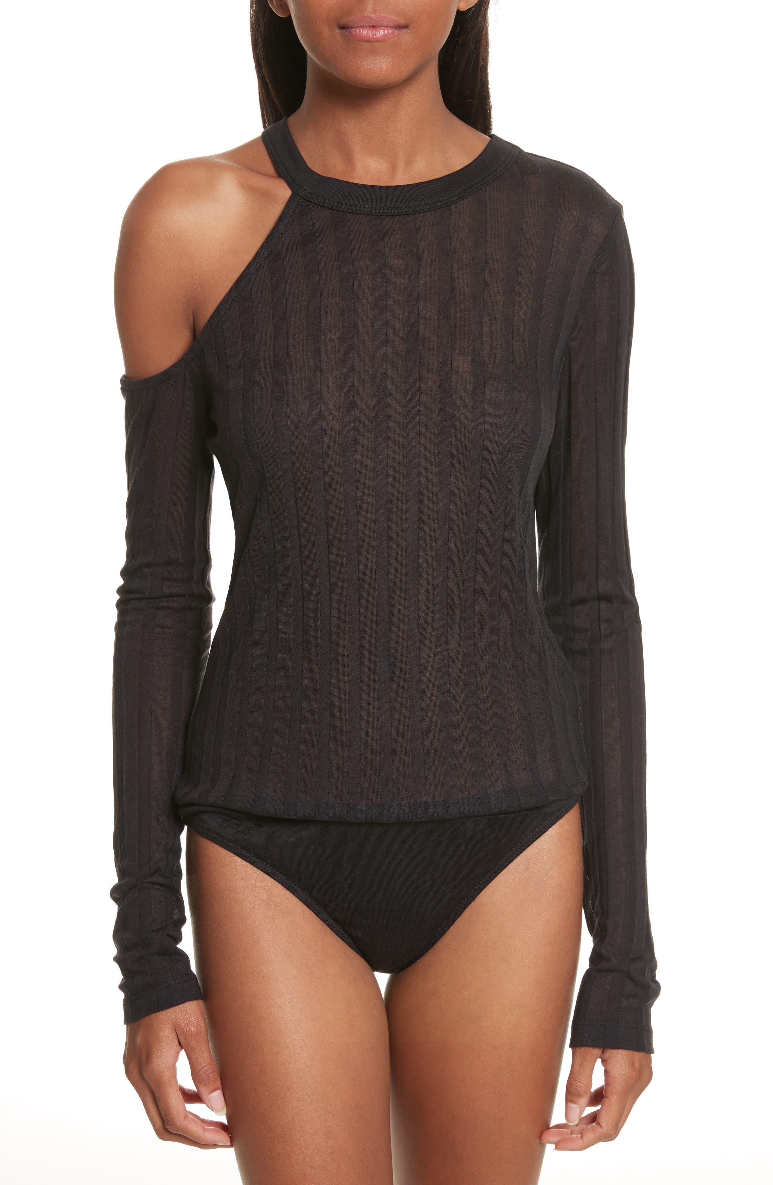 Lookout One-Shoulder Jersey Bodysuit,                             Main thumbnail 1, color,                             Black