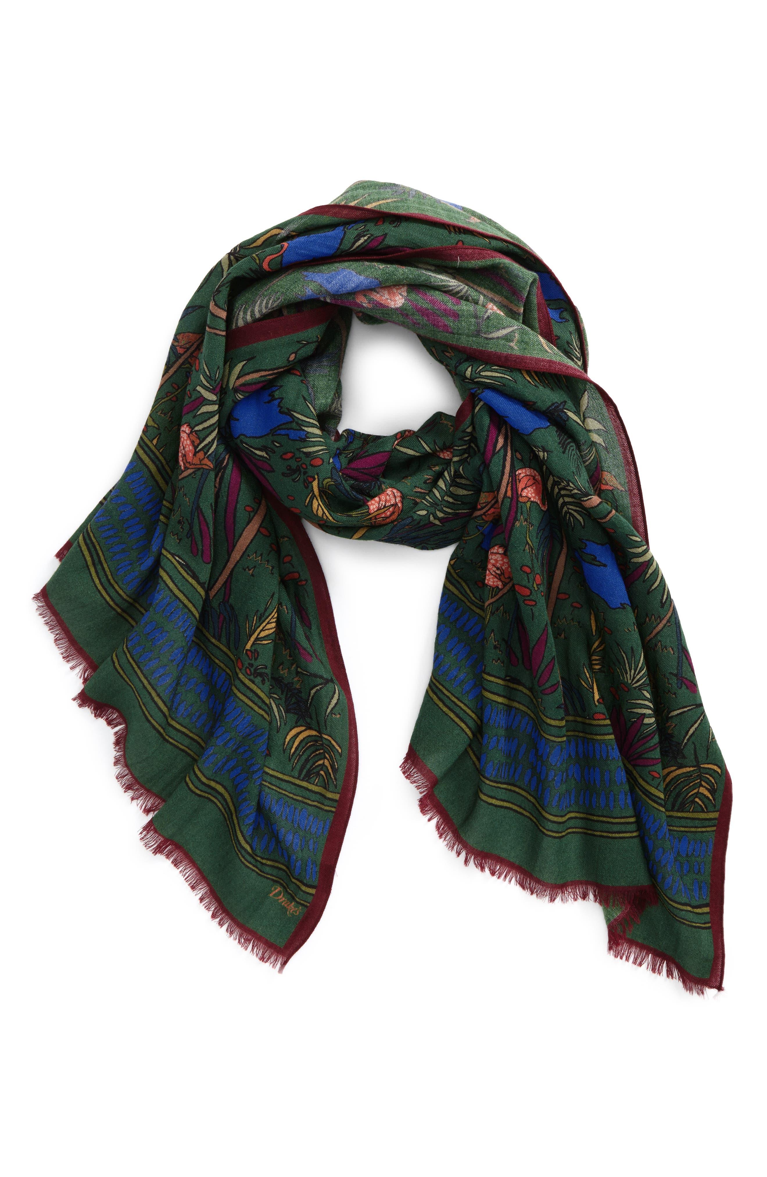 Jungle Print Wool Scarf,                         Main,                         color, Green Multi