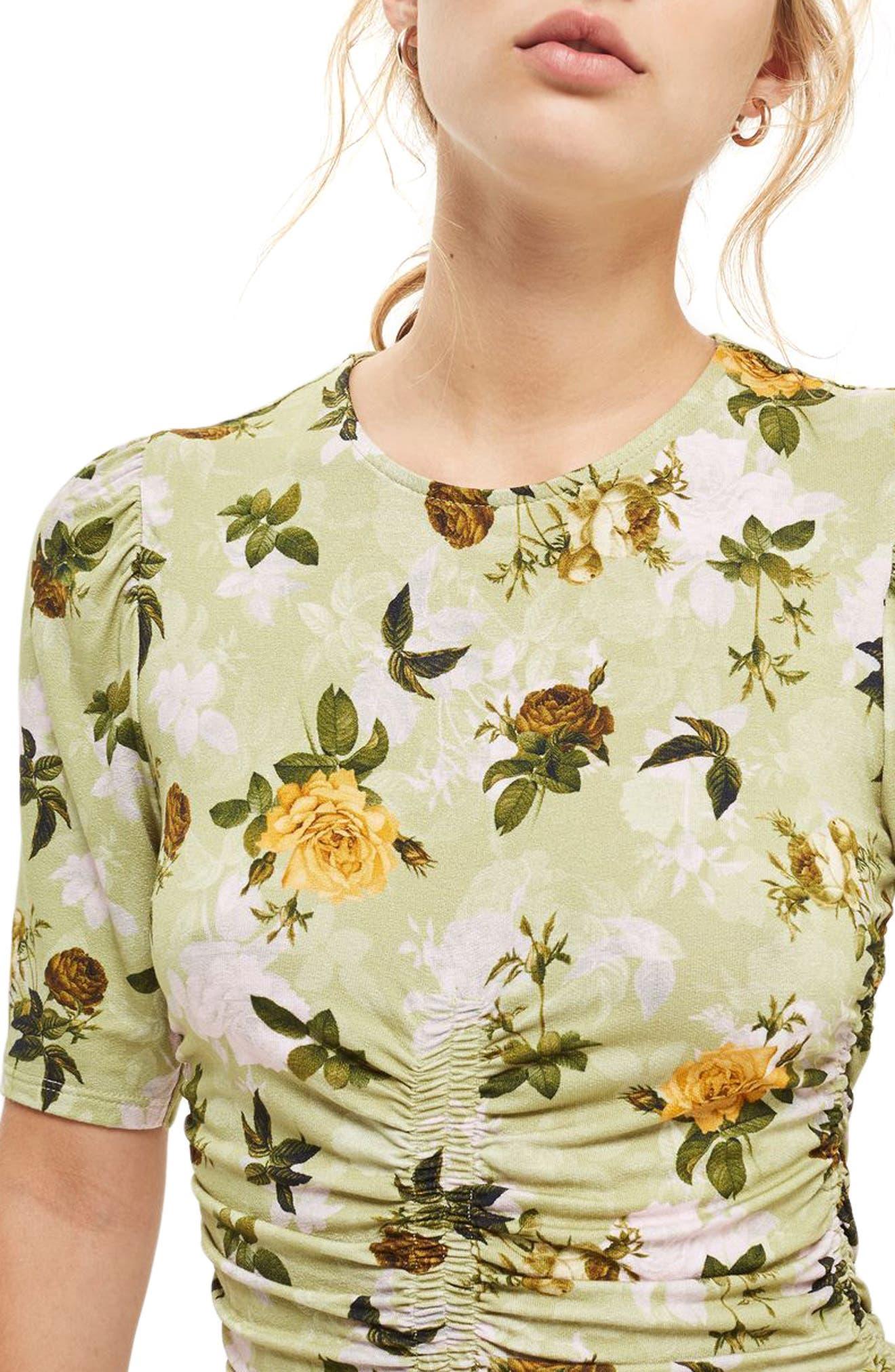 Floral Ruched Asymmetrical Midi Dress,                             Alternate thumbnail 4, color,                             Green Multi