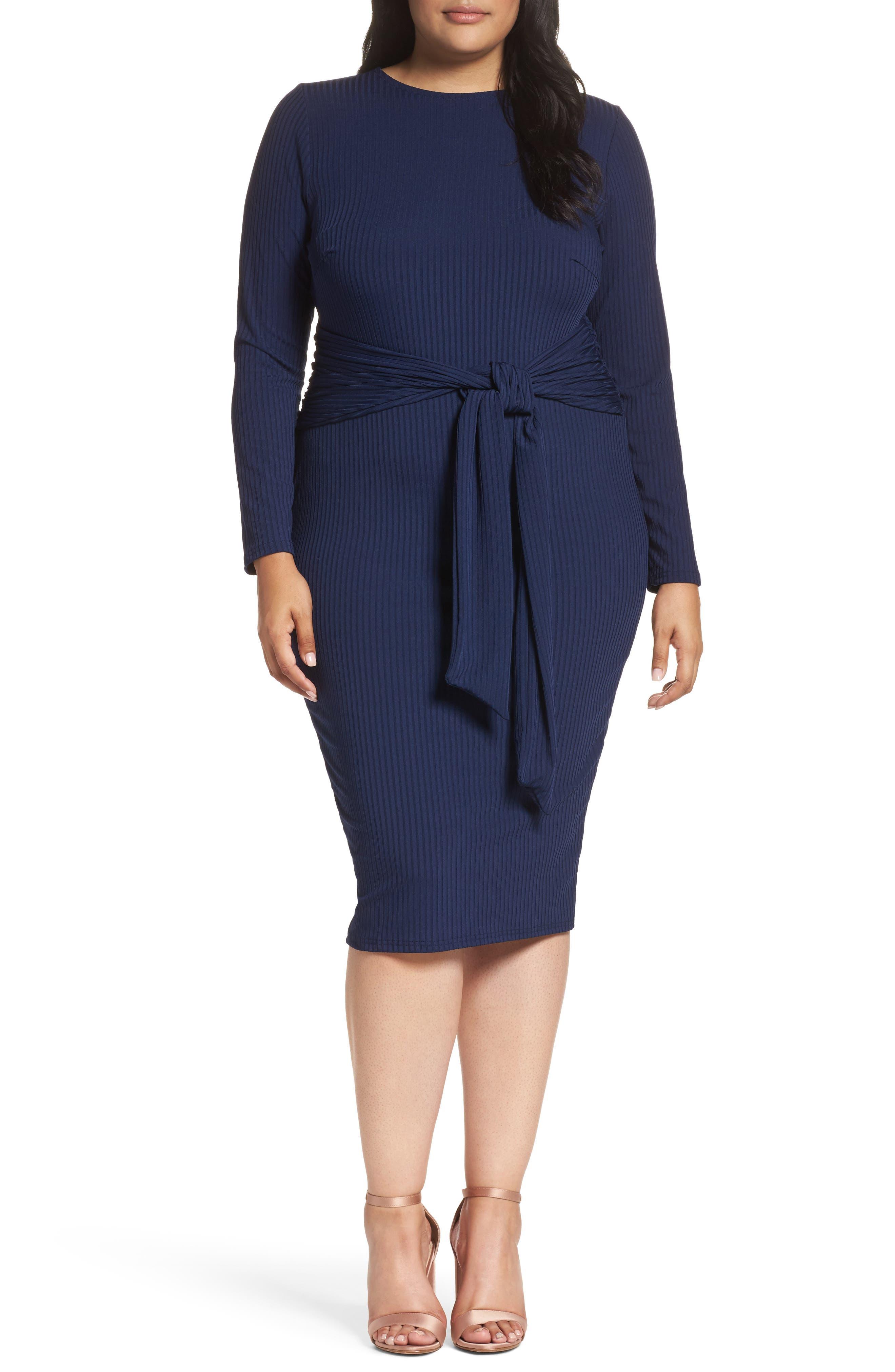 Tie Front Ribbed Sheath Dress,                             Main thumbnail 1, color,                             Navy