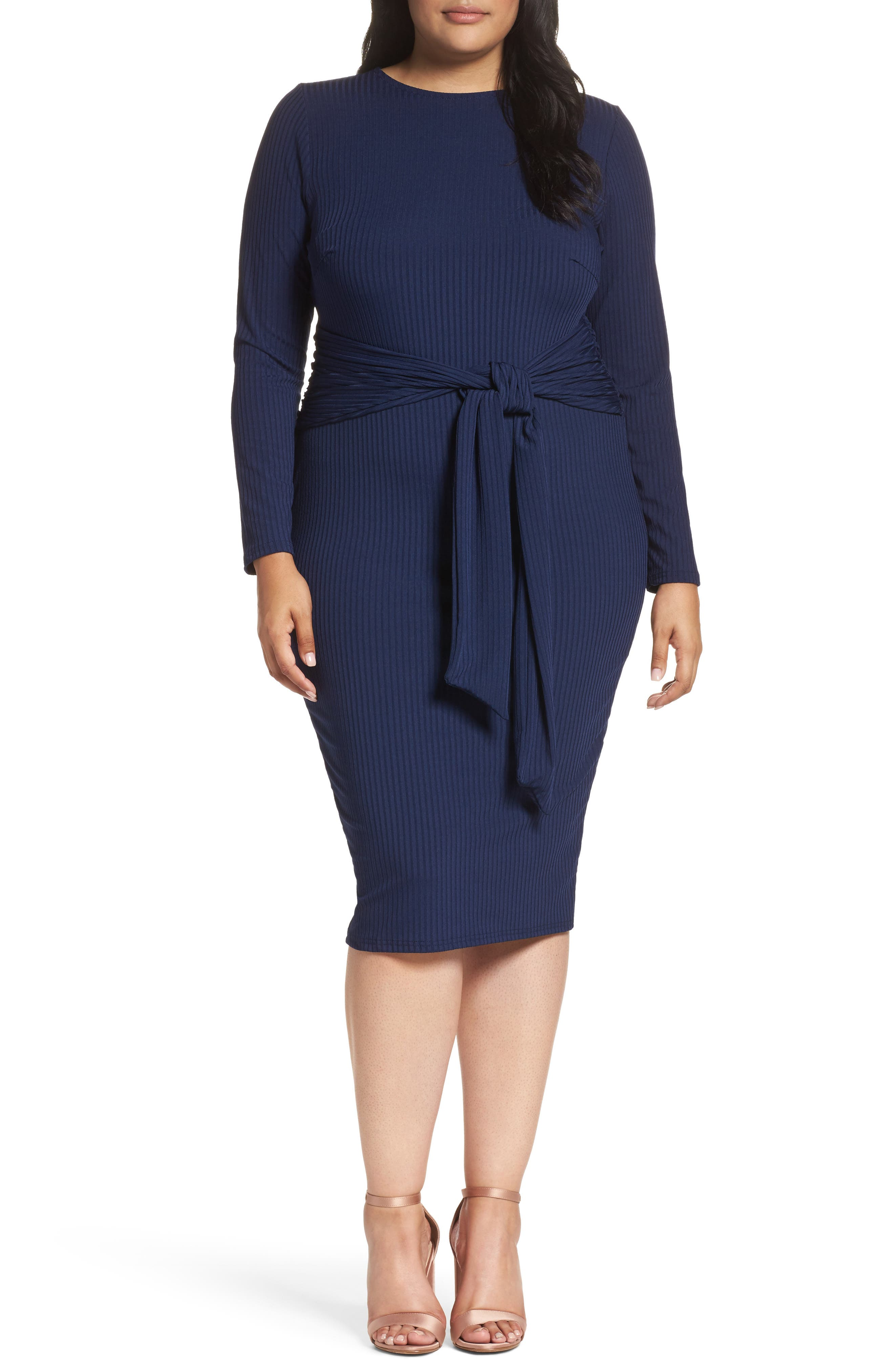 Main Image - LOST INK Tie Front Ribbed Sheath Dress (Plus Size)