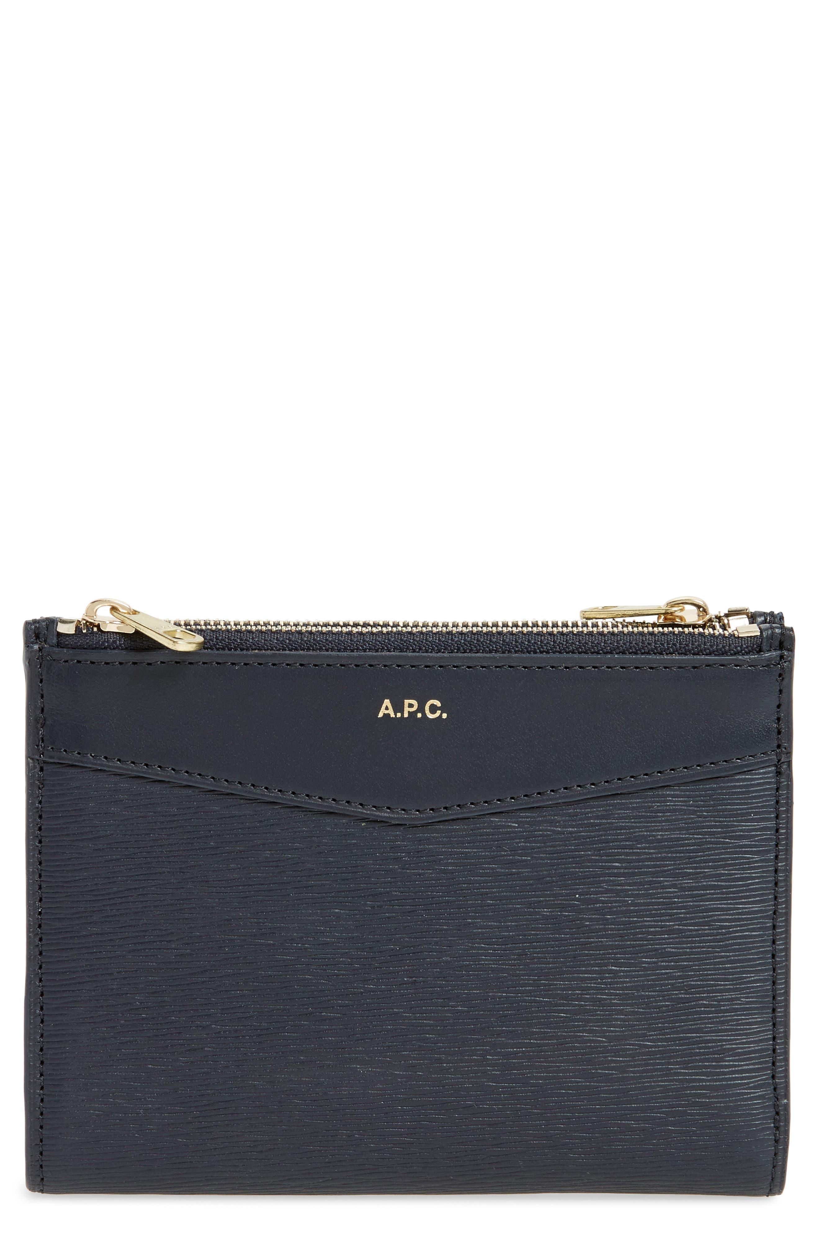 Claudine Calfskin Leather Wallet,                         Main,                         color, Dark Navy
