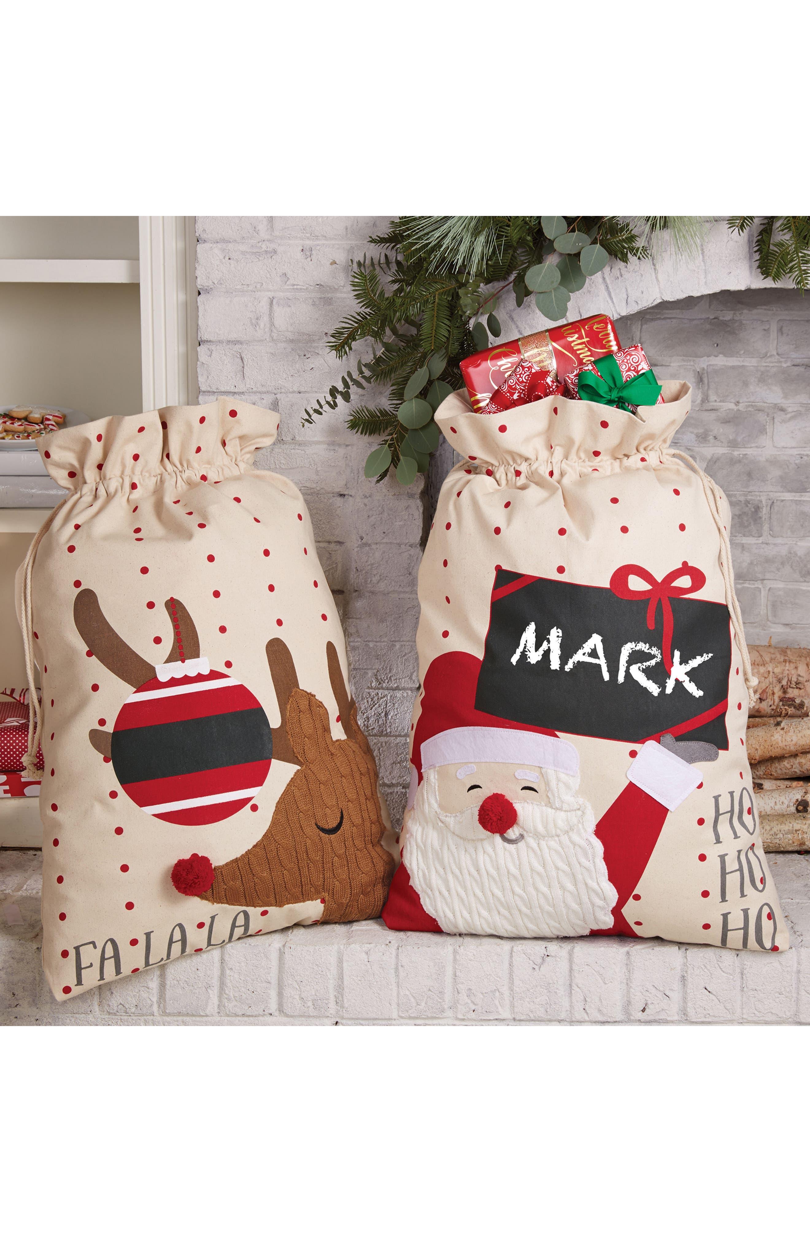 Alternate Image 2  - Mud Pie Fa La La Reindeer Canvas Gift Sack